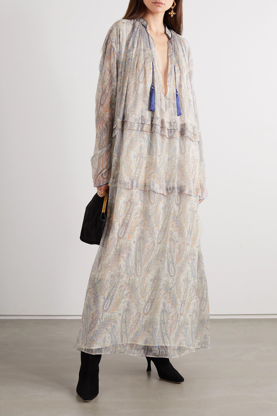 ETRO Tasseled paisley-print silk-crepon maxi dress
