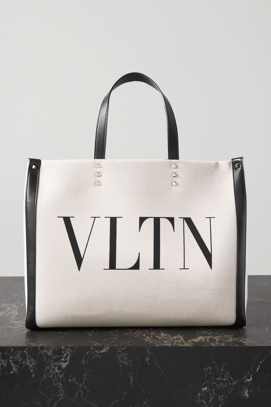 VALENTINO Medium leather-trimmed printed canvas tote