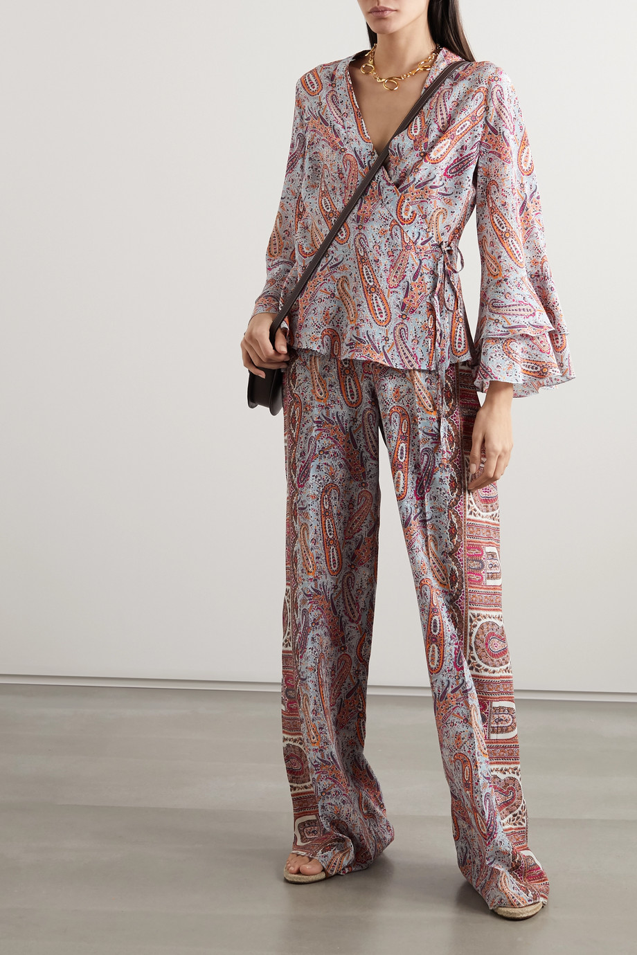ETRO Ruffled paisley-print silk crepe de chine wrap top