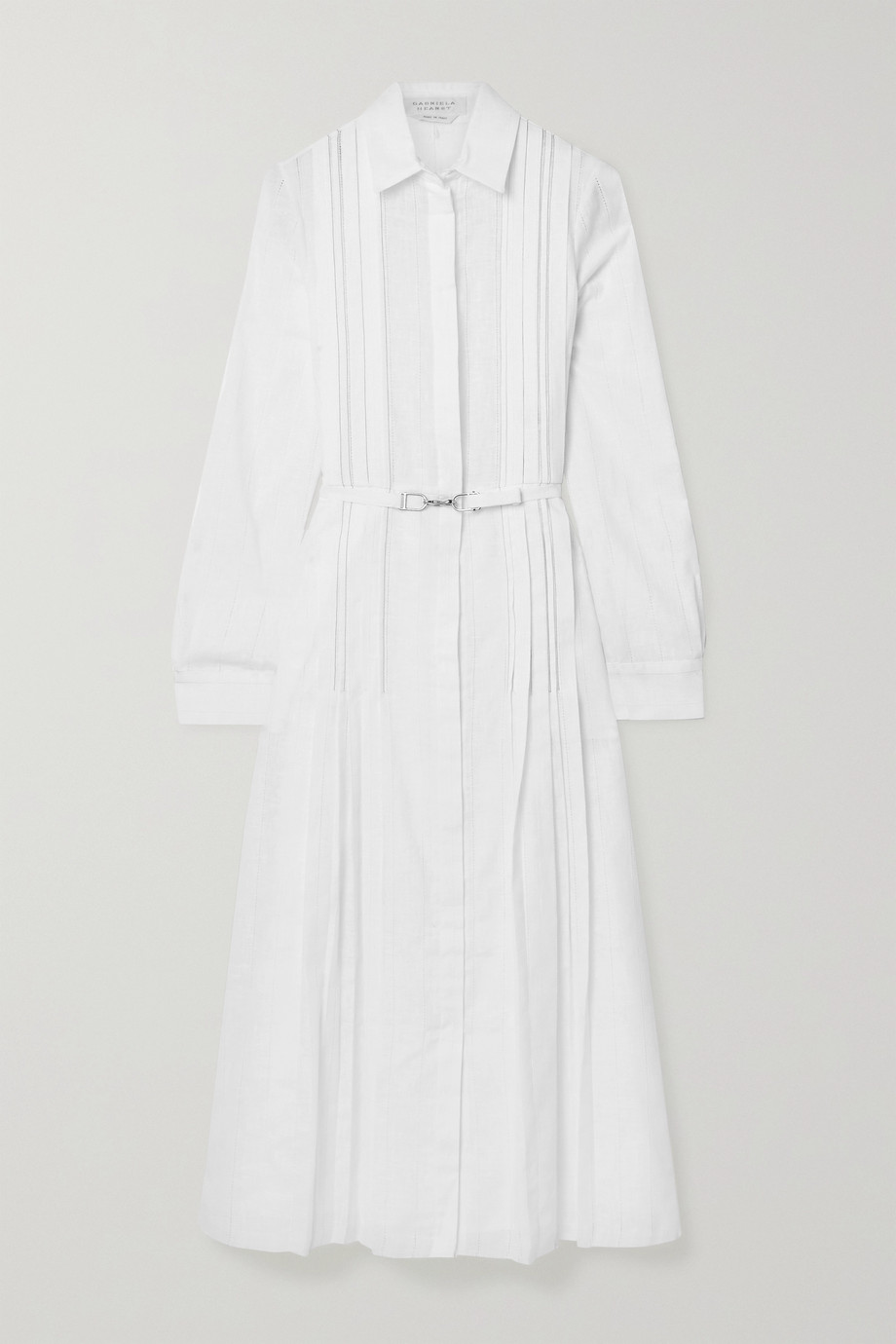 Gabriela Hearst Vera belted pintucked cotton-voile midi shirt dress
