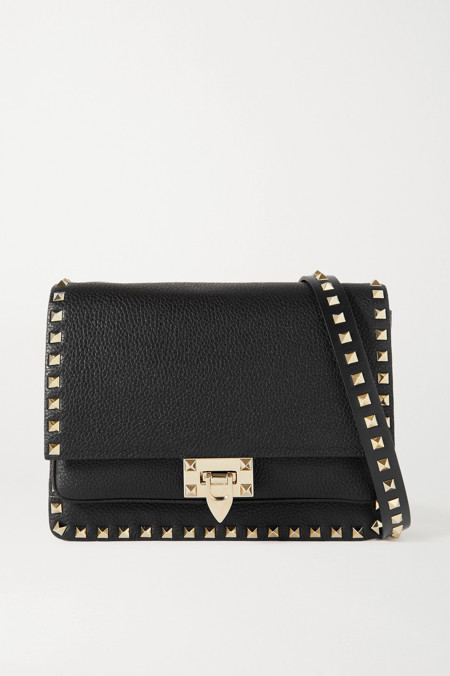 VALENTINO Valentino Garavani Rockstud textured-leather shoulder bag
