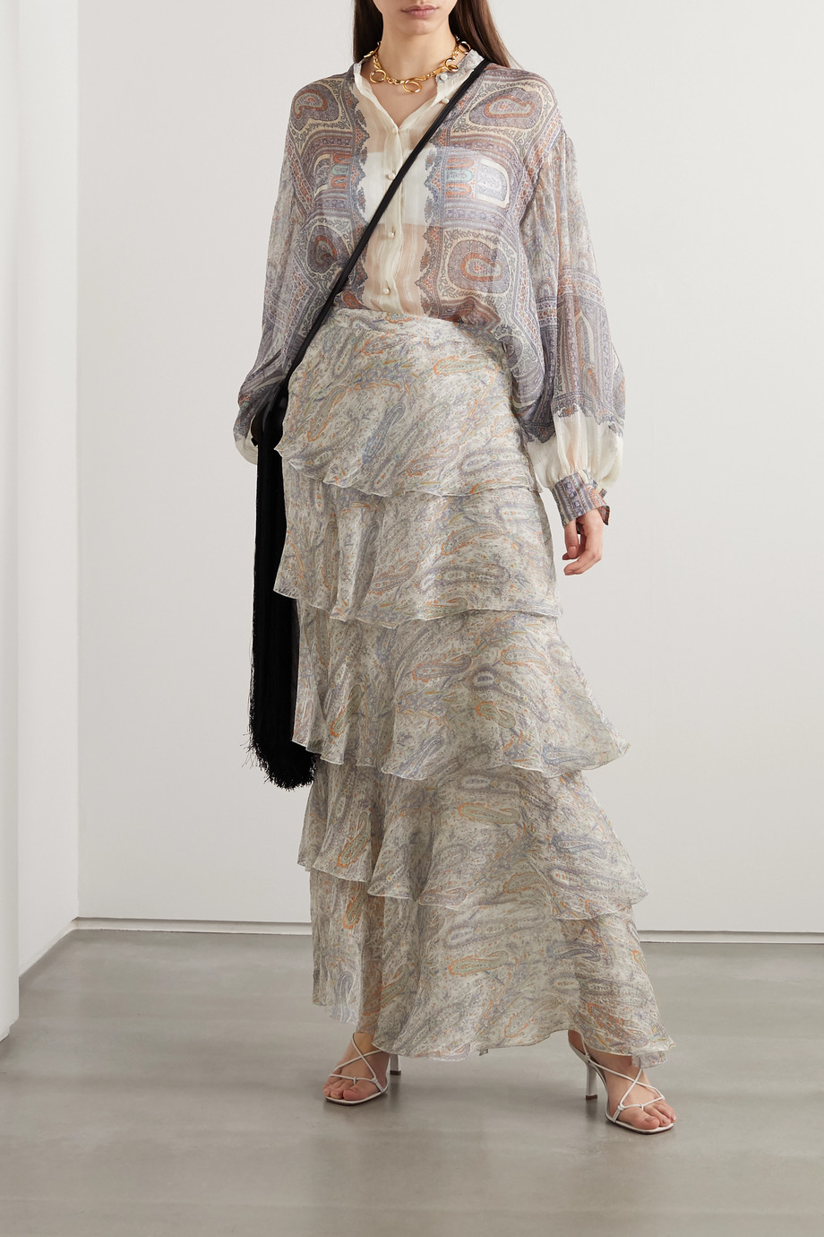 ETRO Tiered paisley-print silk-crepon maxi skirt
