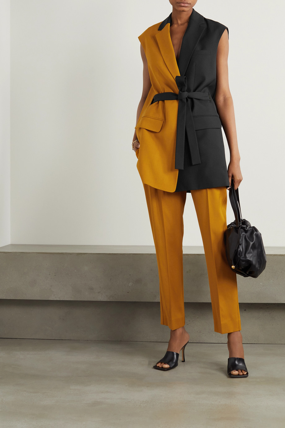 ROKSANDA Paola belted two-tone grain de poudre and twill vest