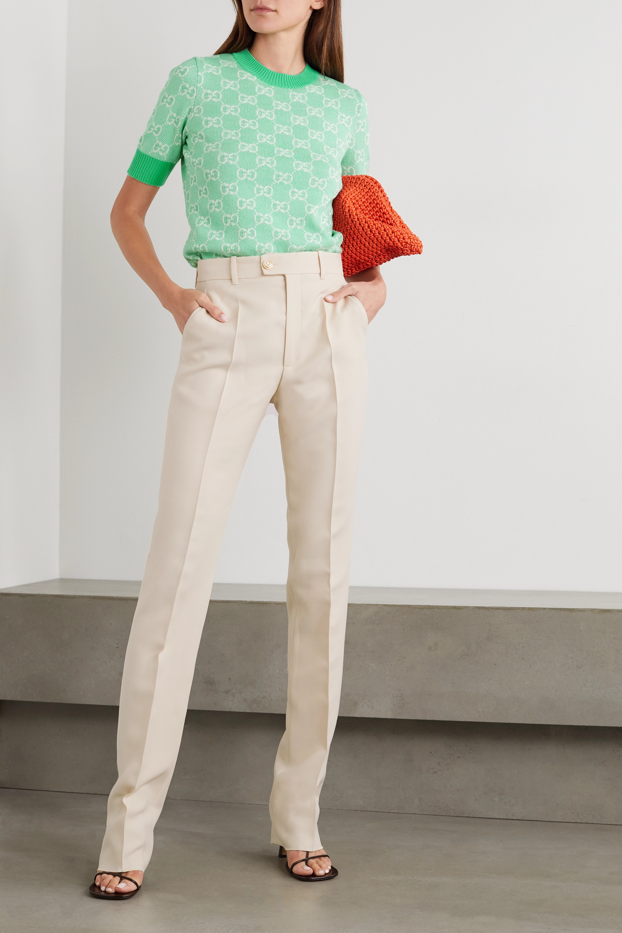 GUCCI Silk and wool-blend straight-leg pants