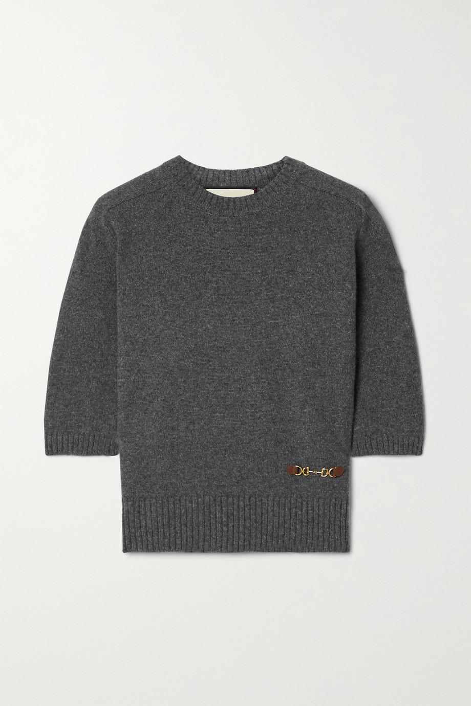 GUCCI Horsebit-detailed leather-trimmed cashmere sweater