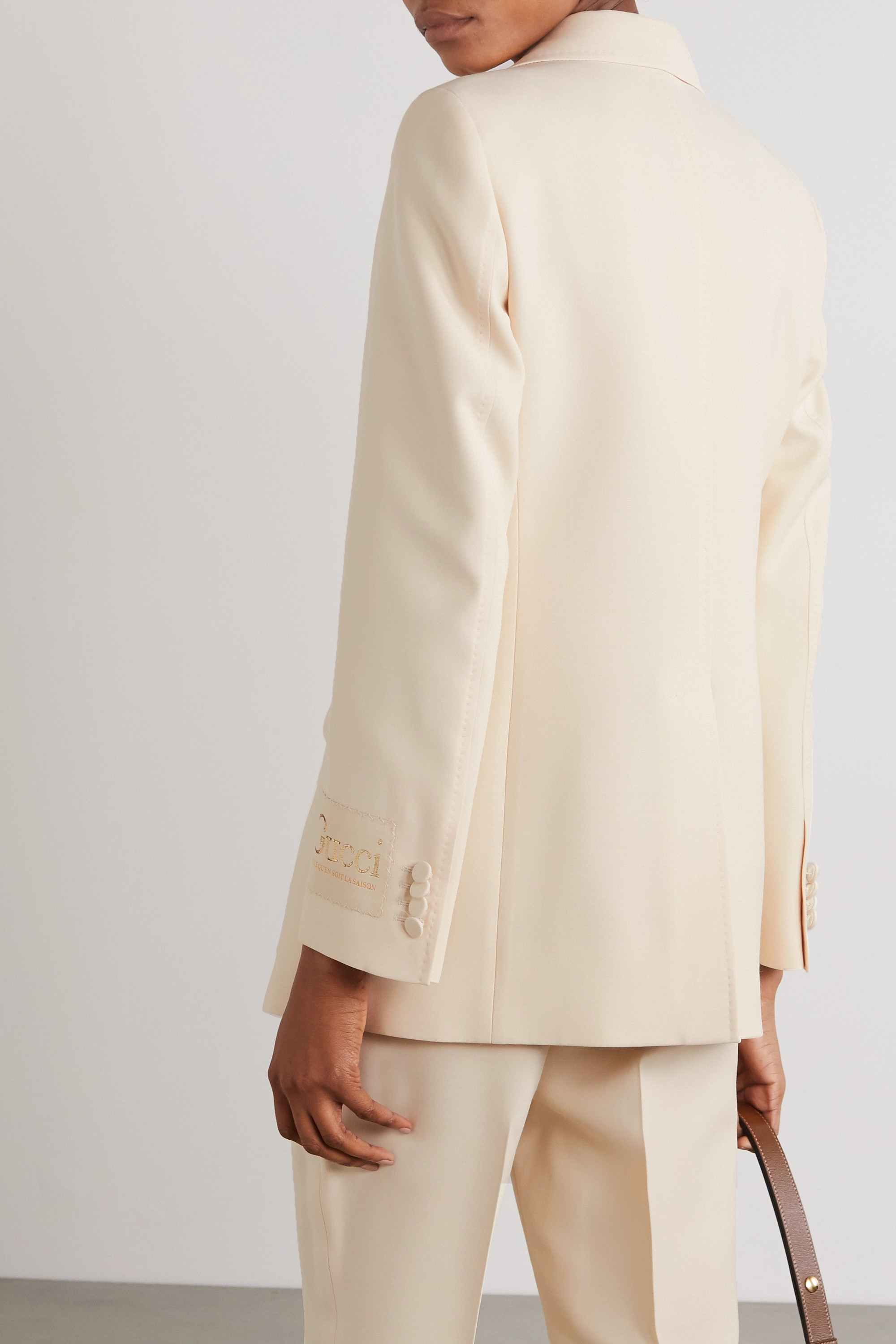 GUCCI Appliquéd silk and wool-blend blazer
