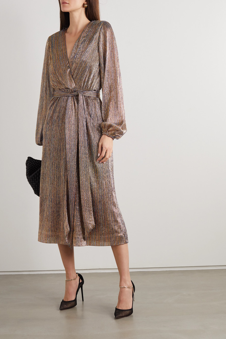 REBECCA VALLANCE Rivero wrap-effect belted metallic chiffon midi dress