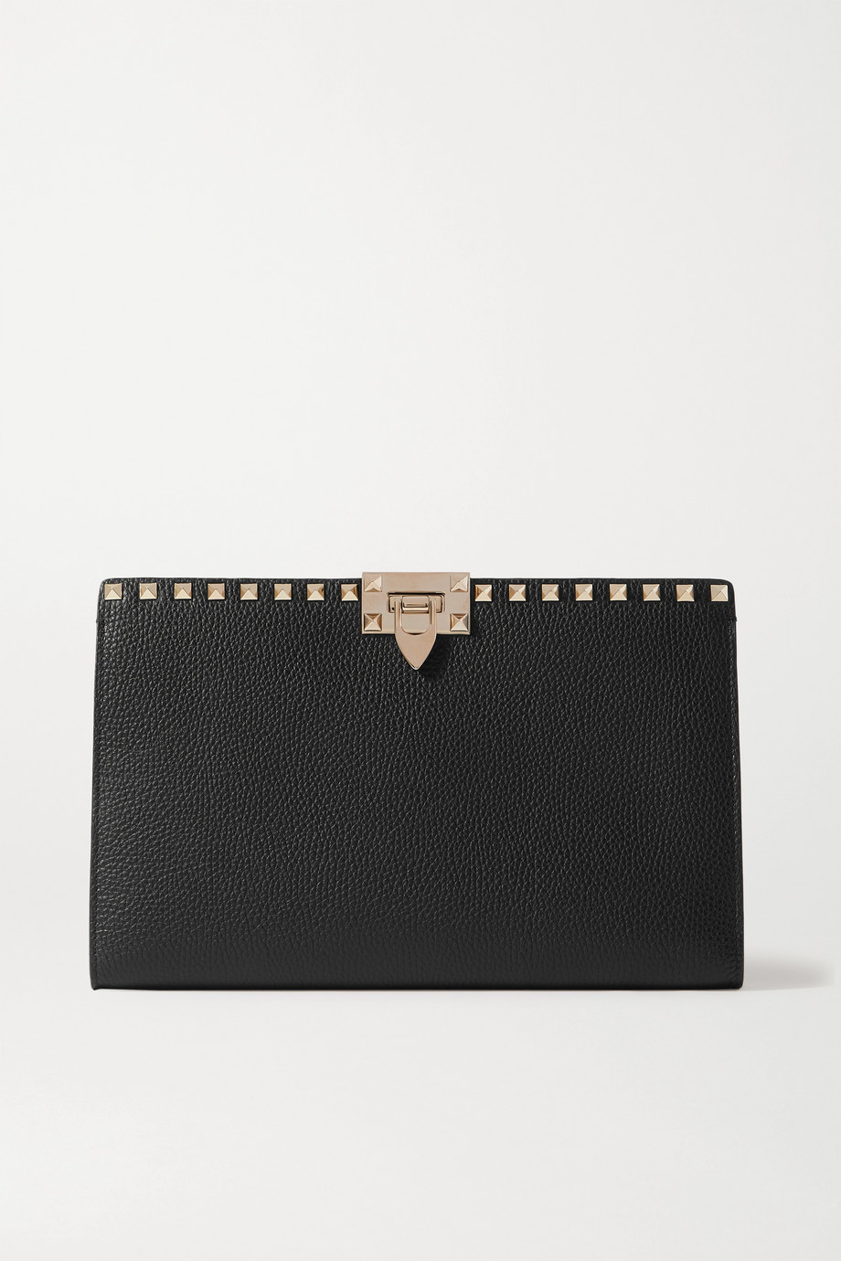 VALENTINO Valentino Garavani Rockstud textured-leather clutch