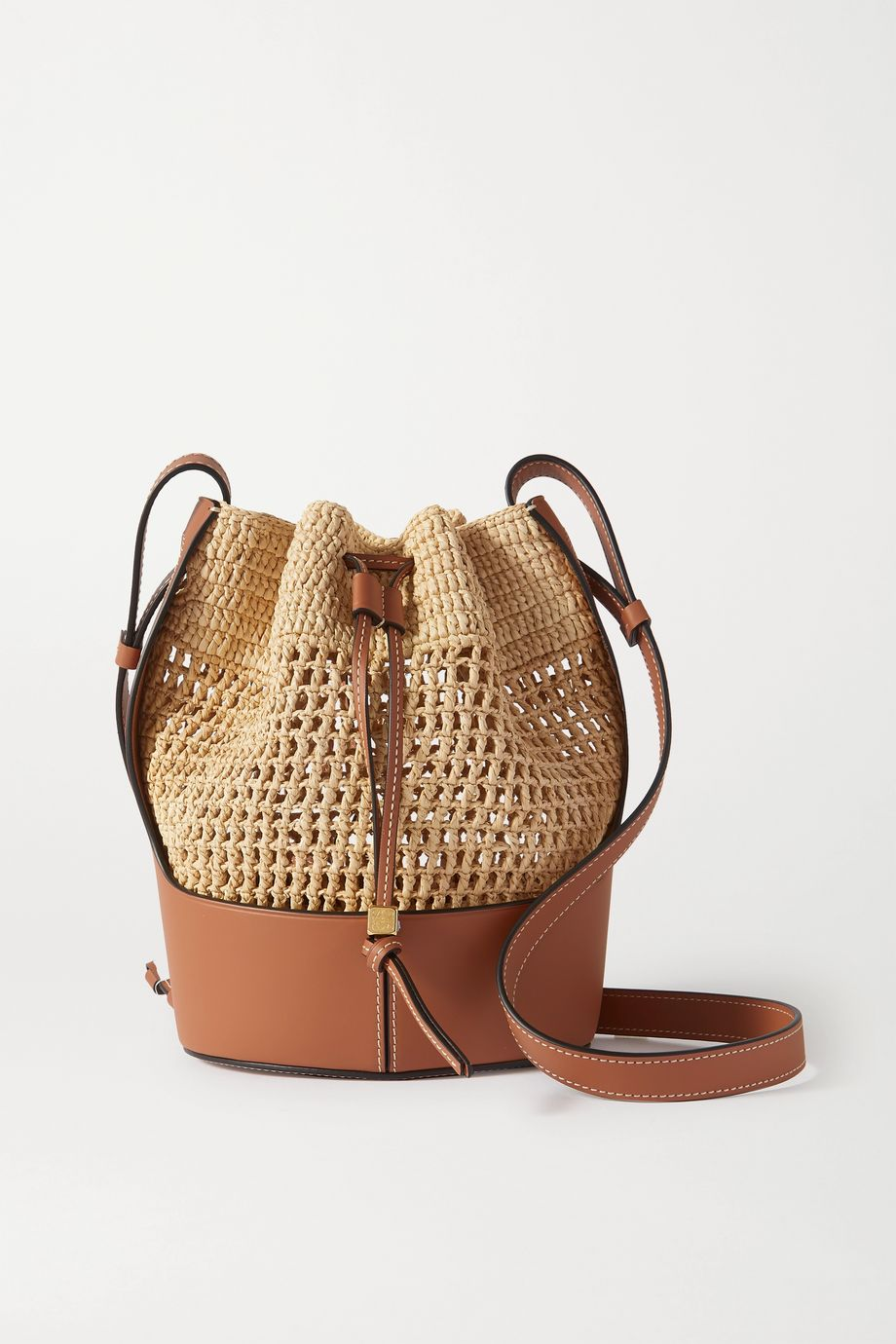 LOEWE Balloon small leather and raffia bucket bag