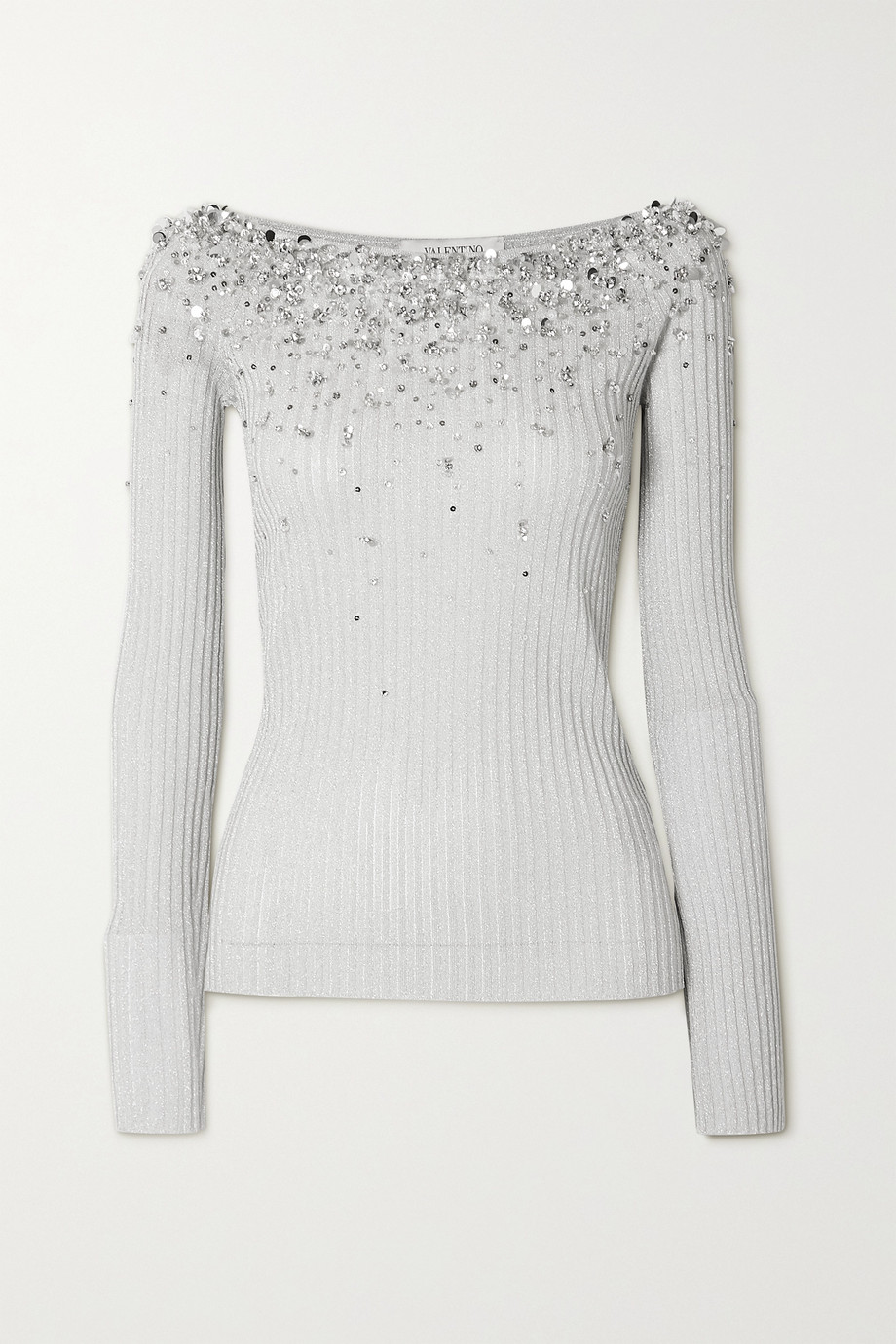 VALENTINO Off-the-shoulder embellished metallic ribbed-knit top