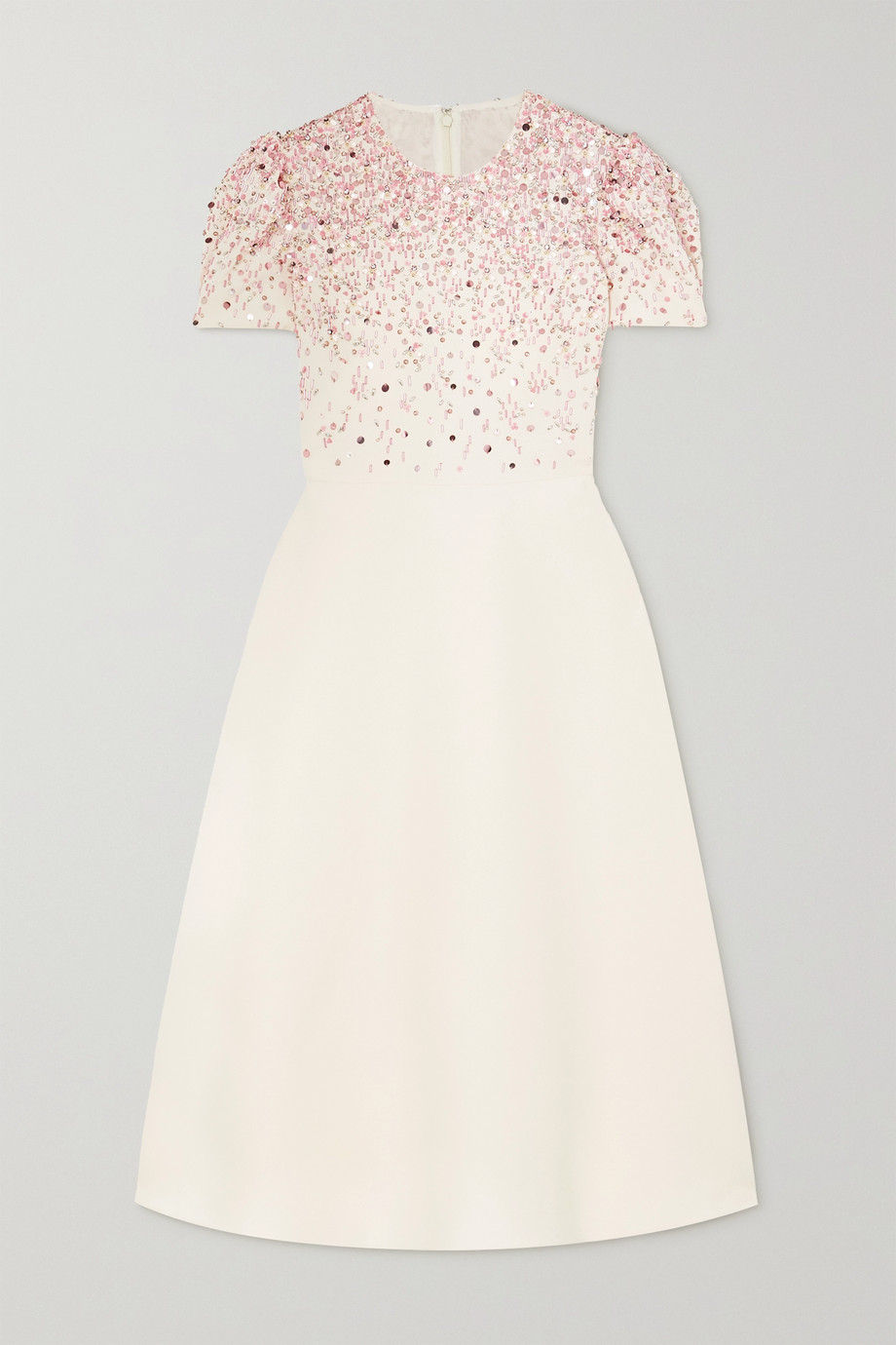 VALENTINO Embellished virgin wool and silk-blend crepe gown