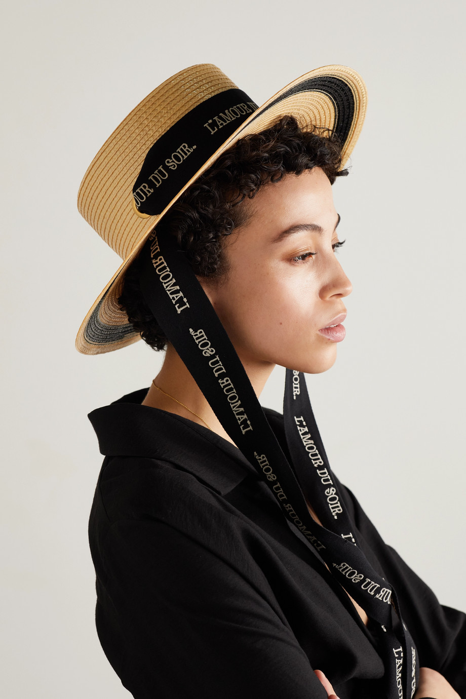 GUCCI Embroidered cotton-trimmed straw hat