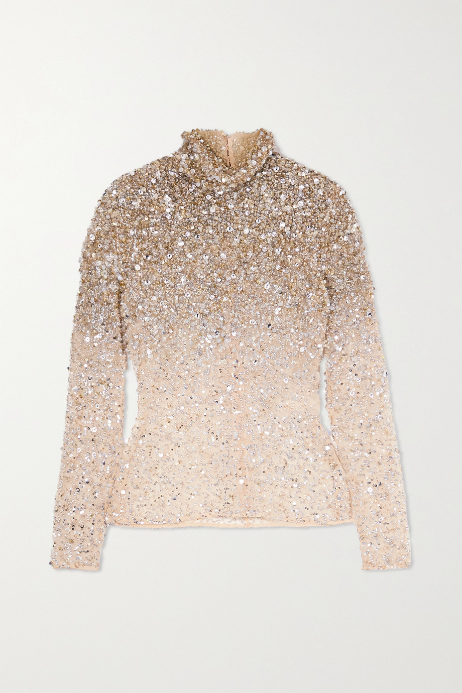 VALENTINO Sequin-embellished cotton-blend mesh turtleneck top