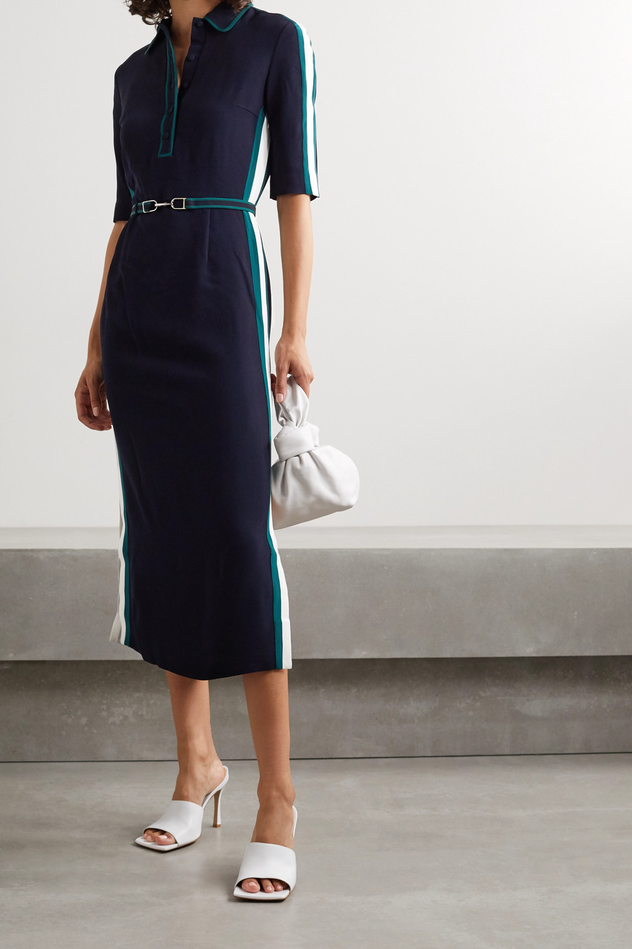 Gabriela Hearst Witley belted color-block cady midi shirt dress