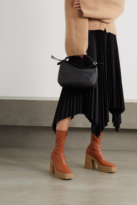 Beige Vegetarian leather platform ankle