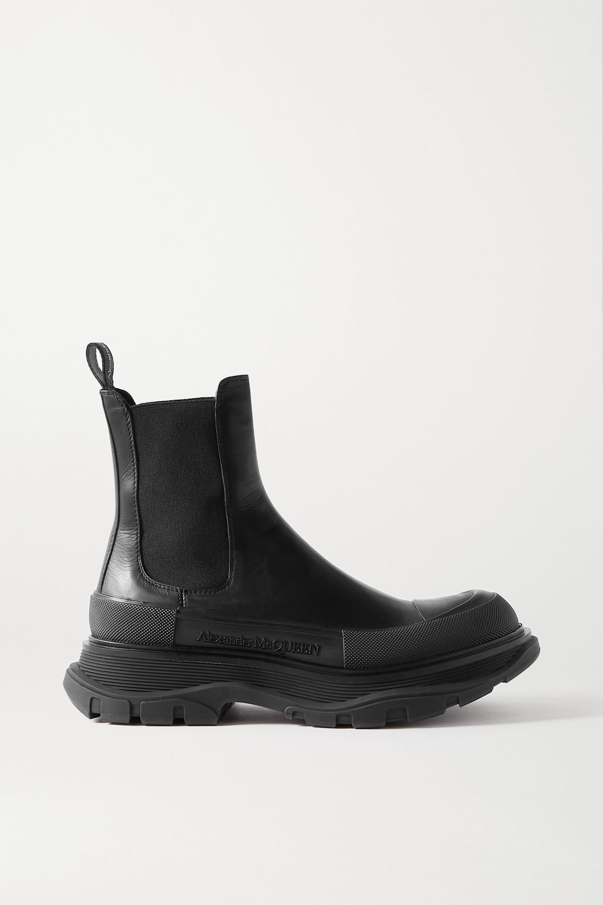 ALEXANDER MCQUEEN - 皮革厚底切尔西靴 - 黑色 - IT39