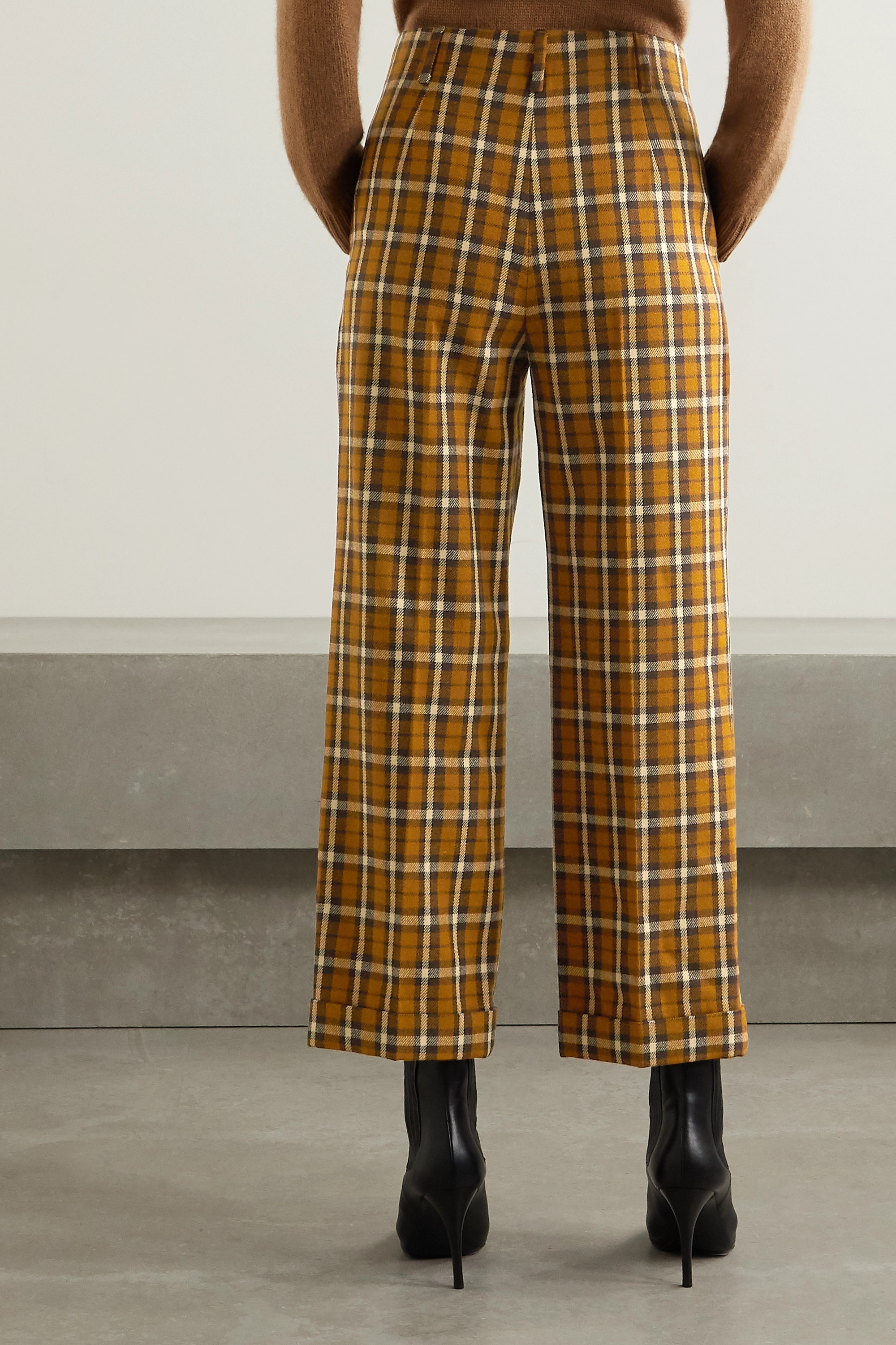 SAINT LAURENT Cropped pleated checked wool straight-leg pants