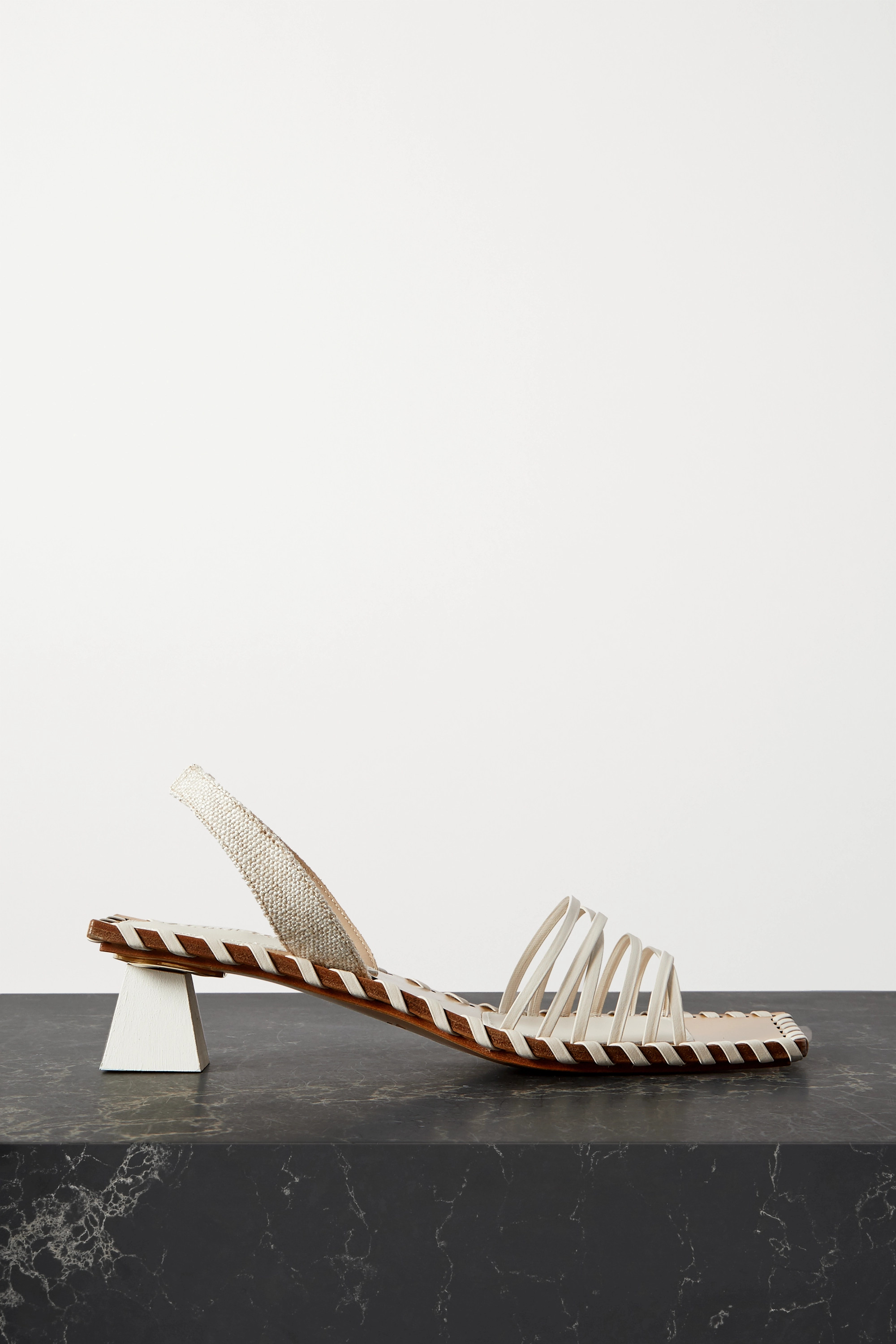 JACQUEMUS Valerie leather and canvas slingback sandals