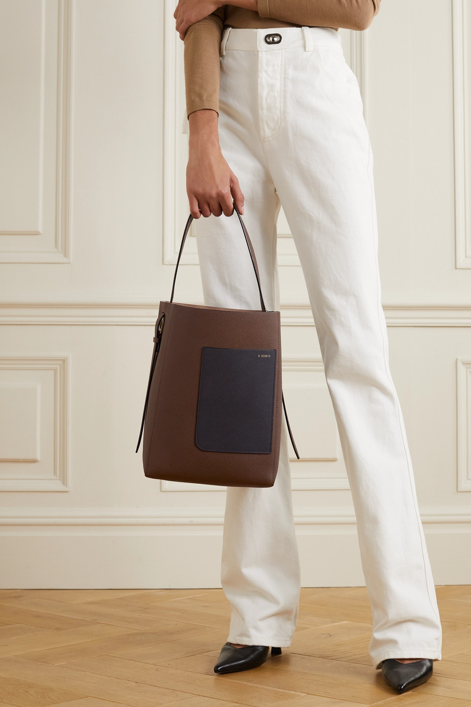 VALEXTRA Secchiello two-tone textured-leather shoulder bag