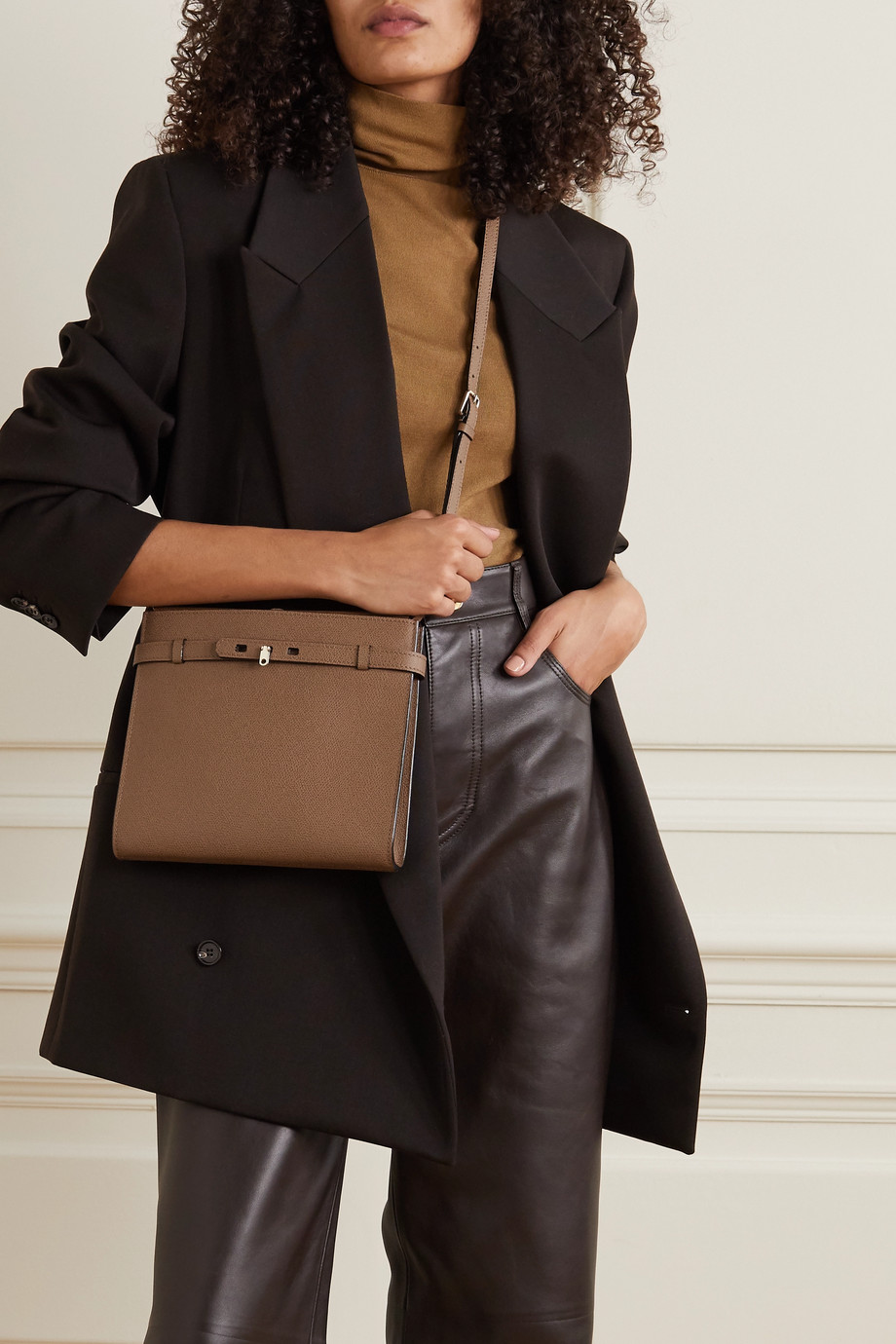 VALEXTRA Brera B-Tracollina textured-leather shoulder bag