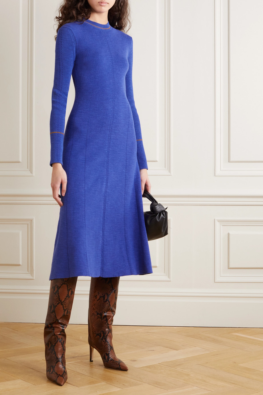 VICTORIA BECKHAM Ribbed cotton-blend midi dress
