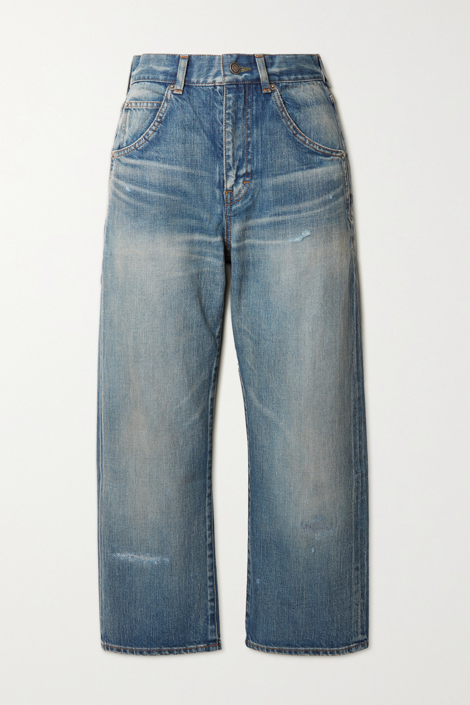 SAINT LAURENT Cropped high-rise straight-leg jeans