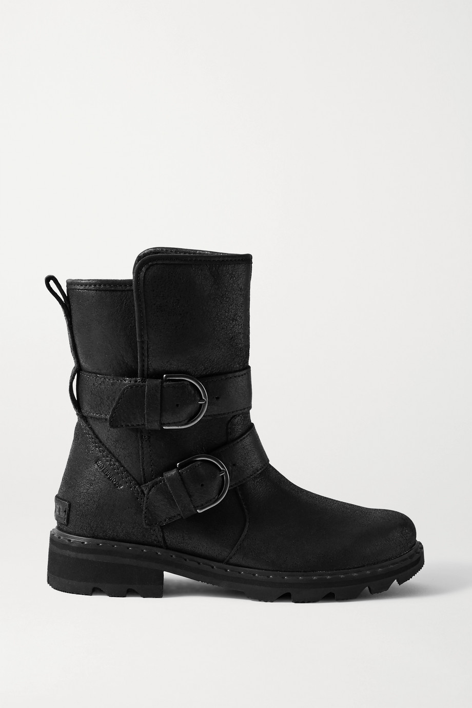 SOREL Lennox Moto Cozy buckled shearling-lined waterproof brushed-leather ankle boots