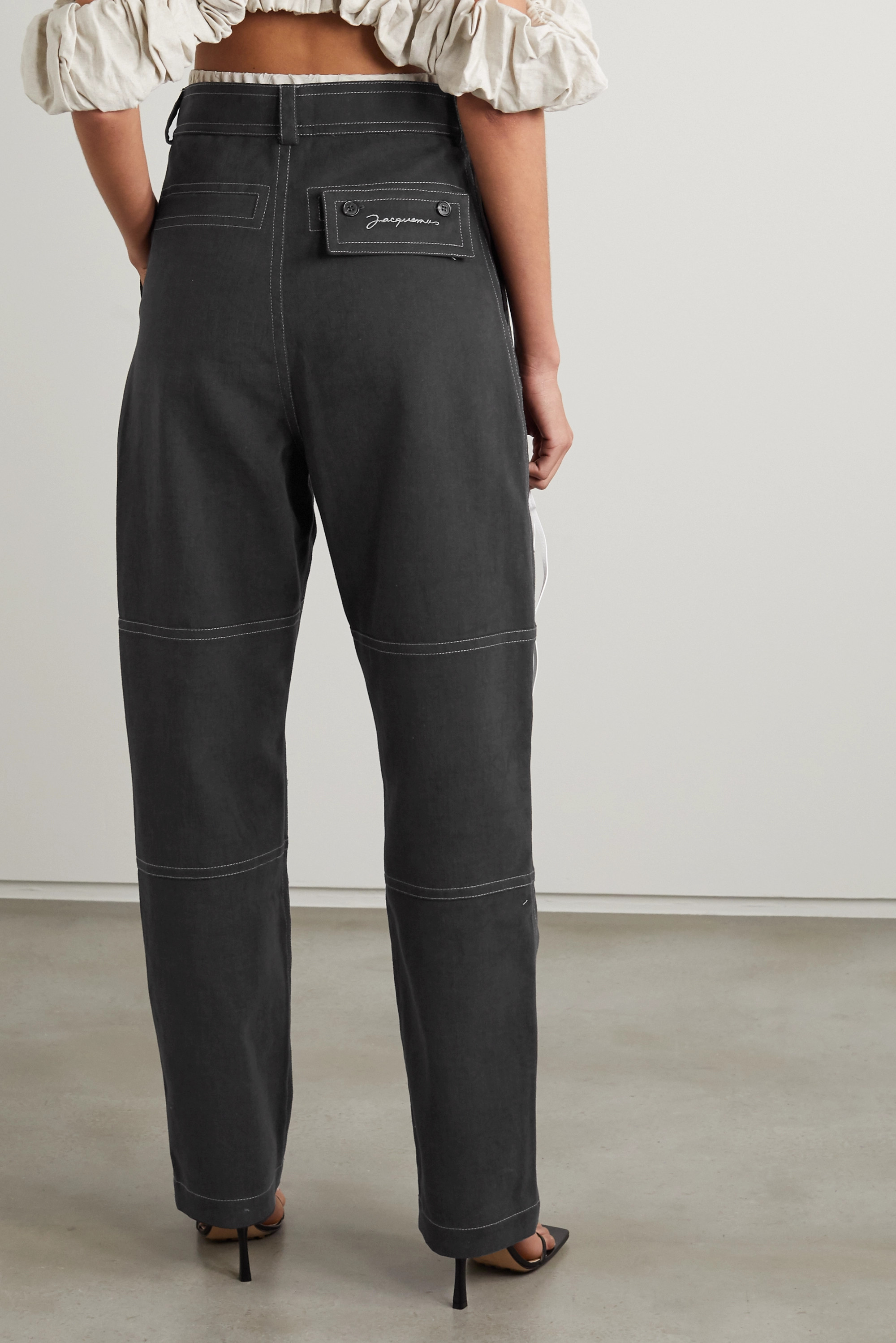 JACQUEMUS Felix layered high-rise tapered jeans