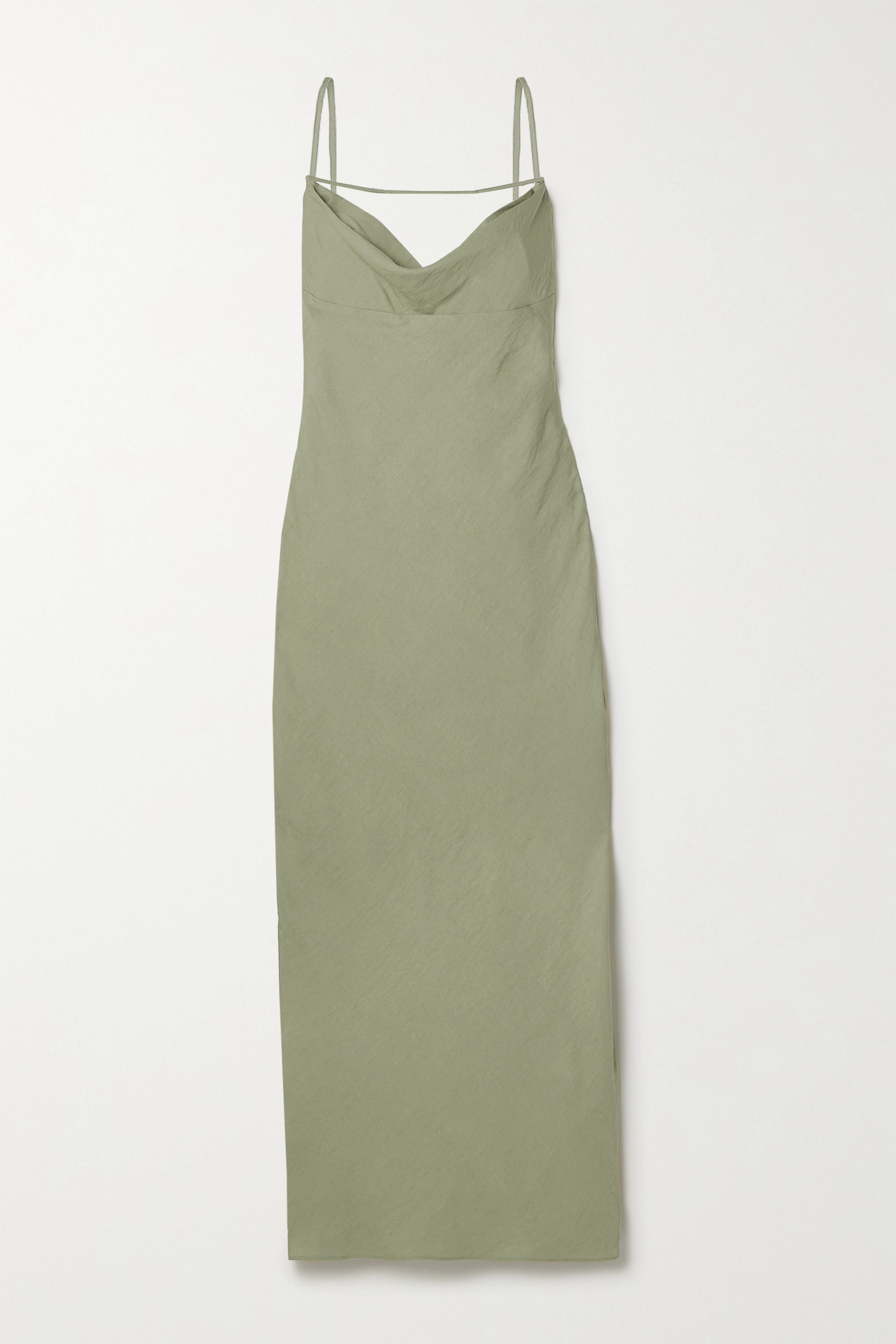 JACQUEMUS Adour draped hammered-twill midi dress