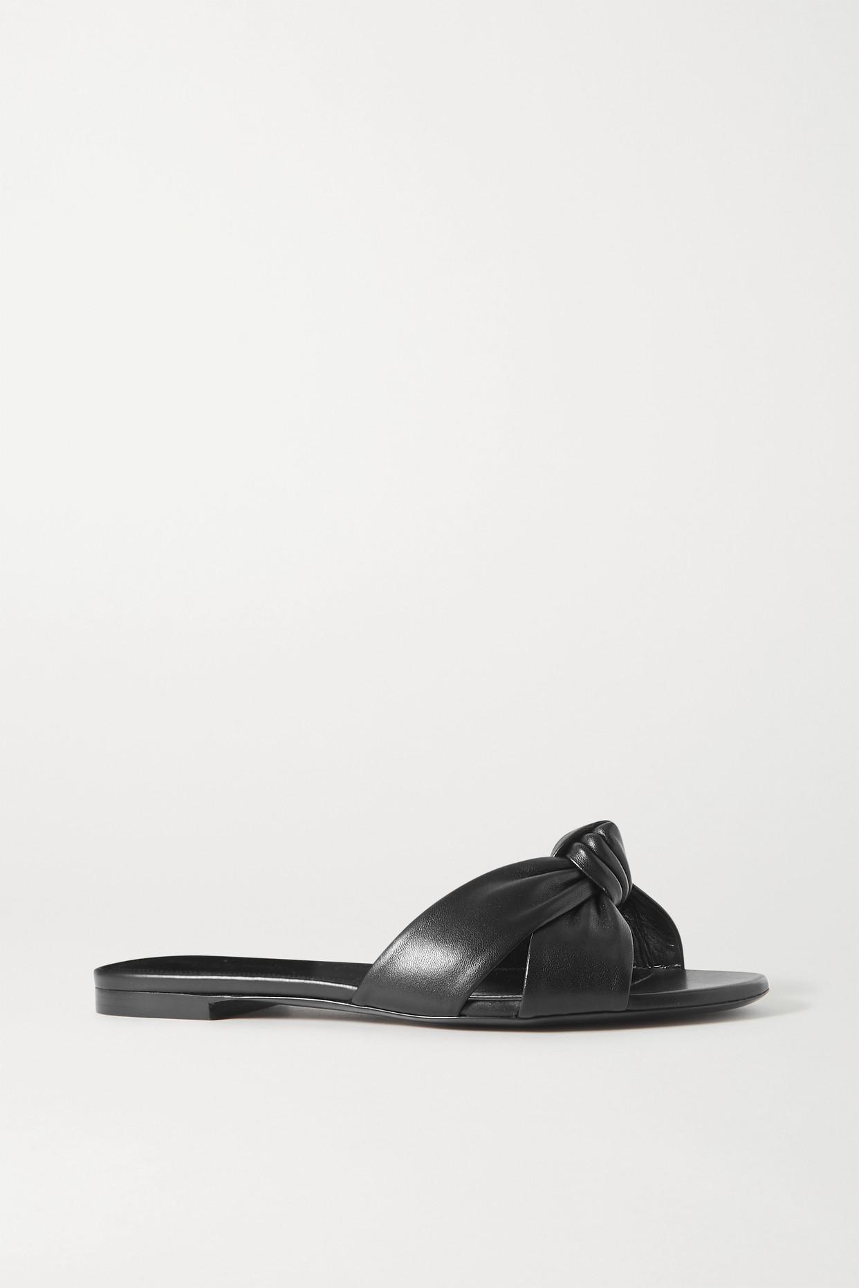SAINT LAURENT - Power Knotted Leather Slides - Black - IT40