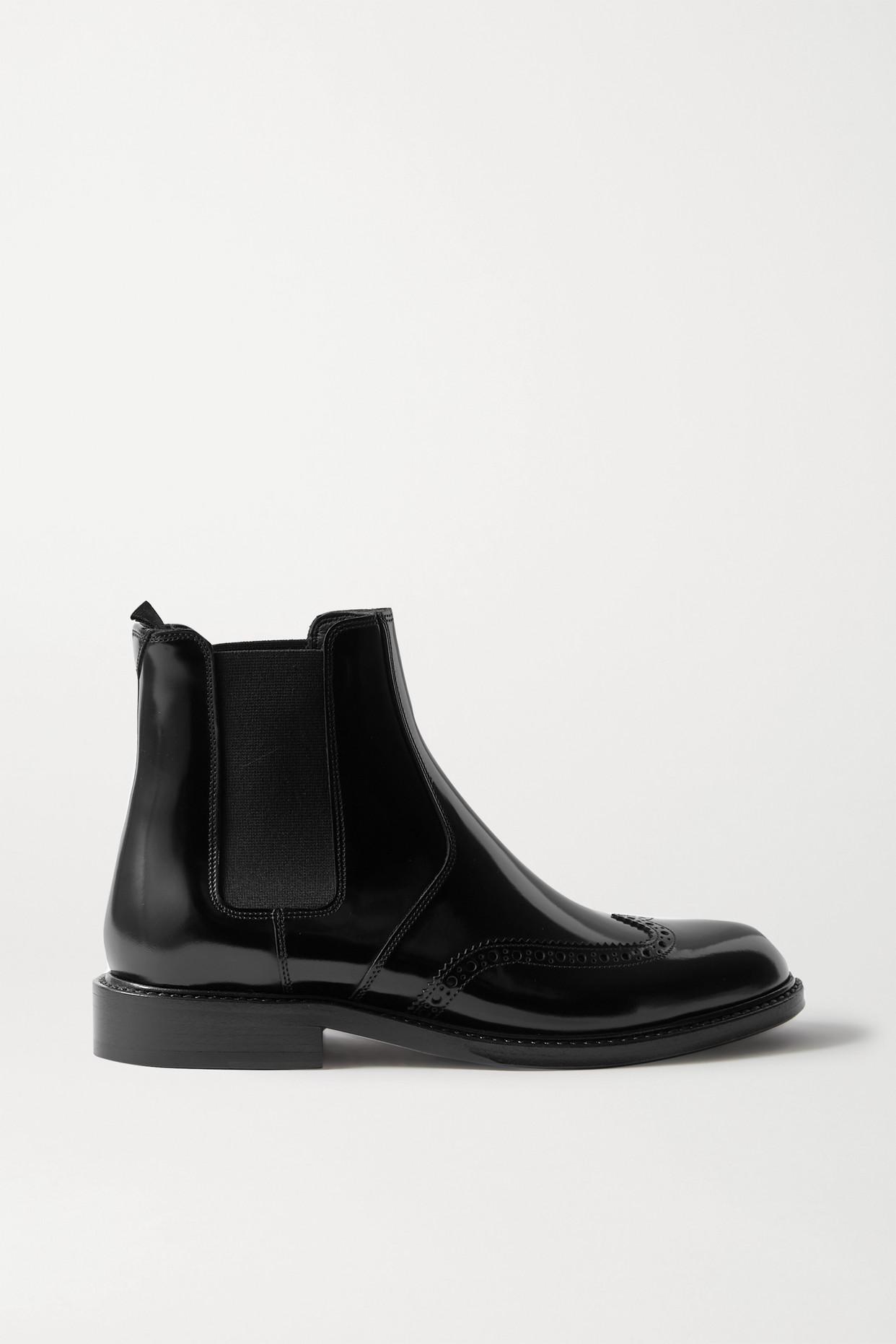 SAINT LAURENT - Ceril Glossed-leather Chelsea Boots - Black - IT37