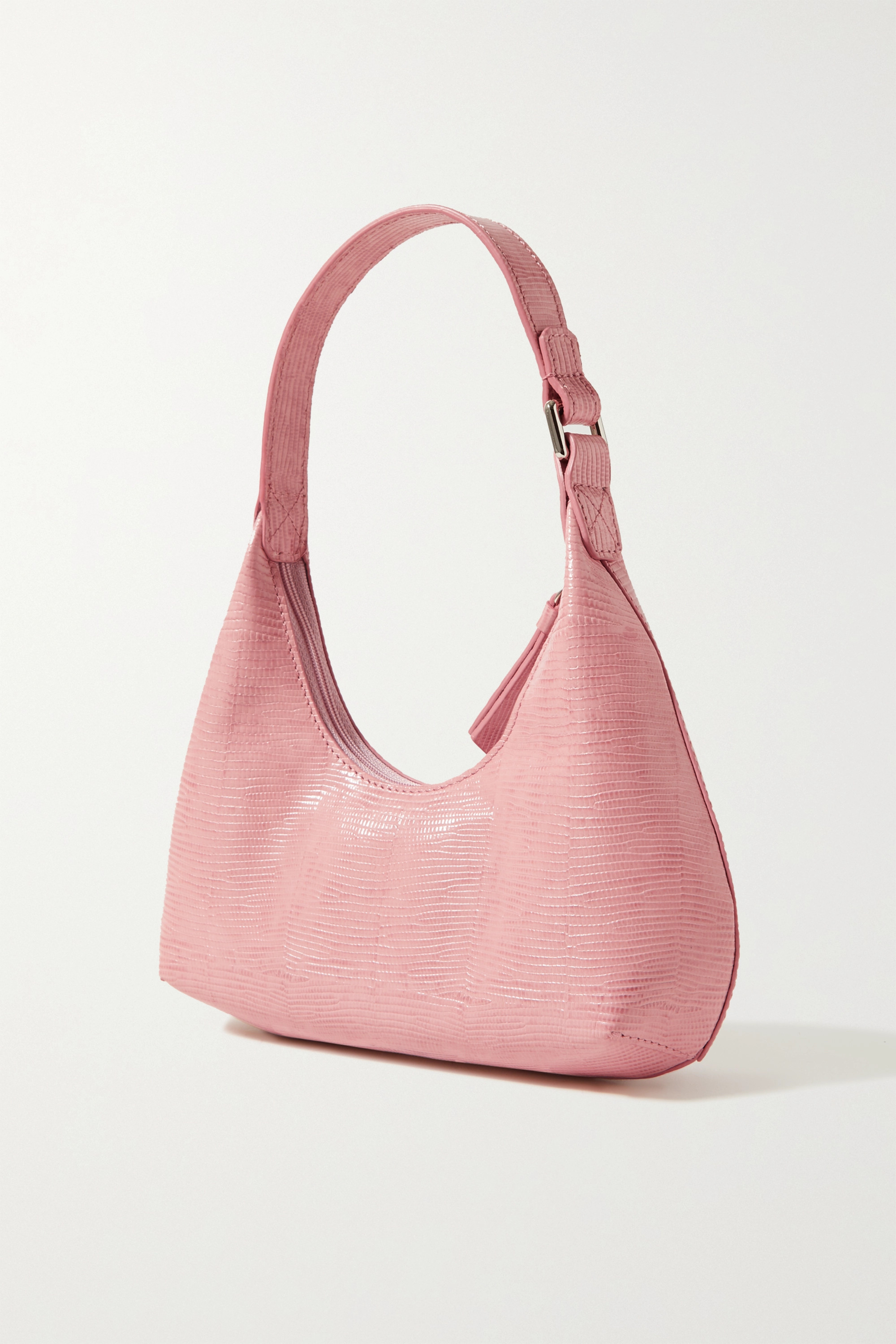 BY FAR Amber Baby lizard-effect leather tote