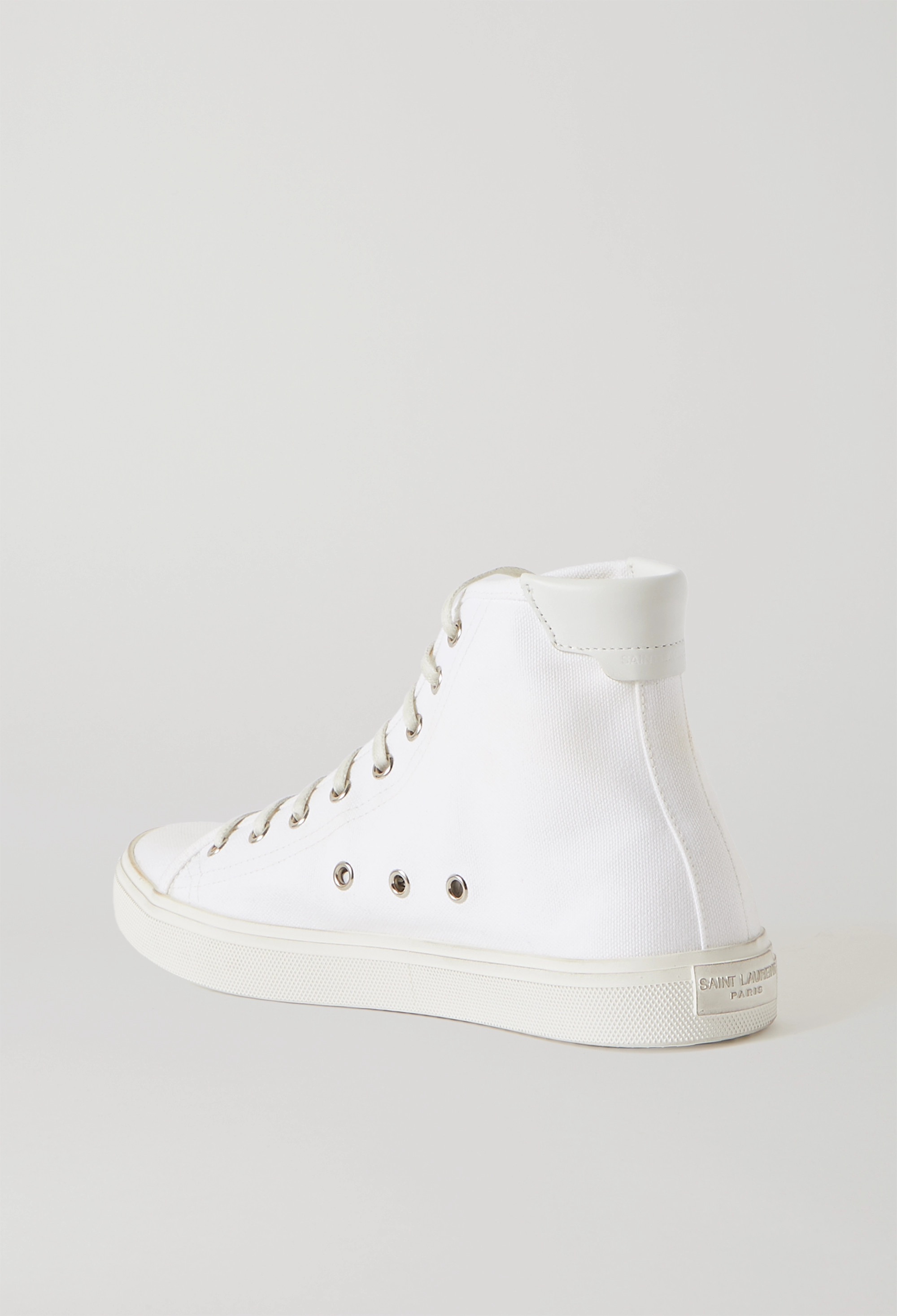 SAINT LAURENT Malibu leather-trimmed distressed cotton-canvas high-top sneakers