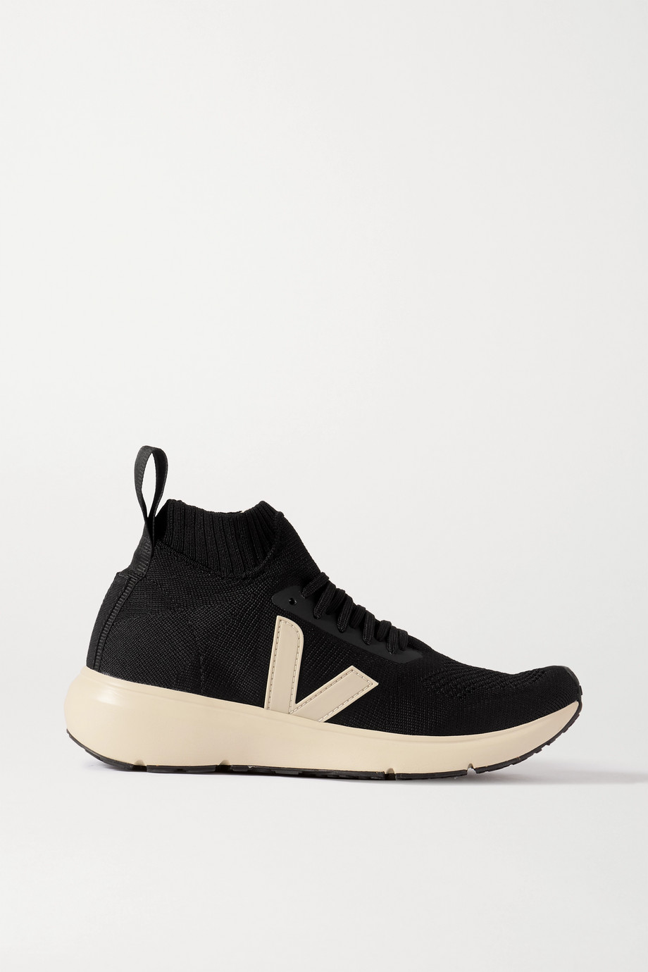 RICK OWENS + Veja rubber-trimmed V-knit high-top sneakers