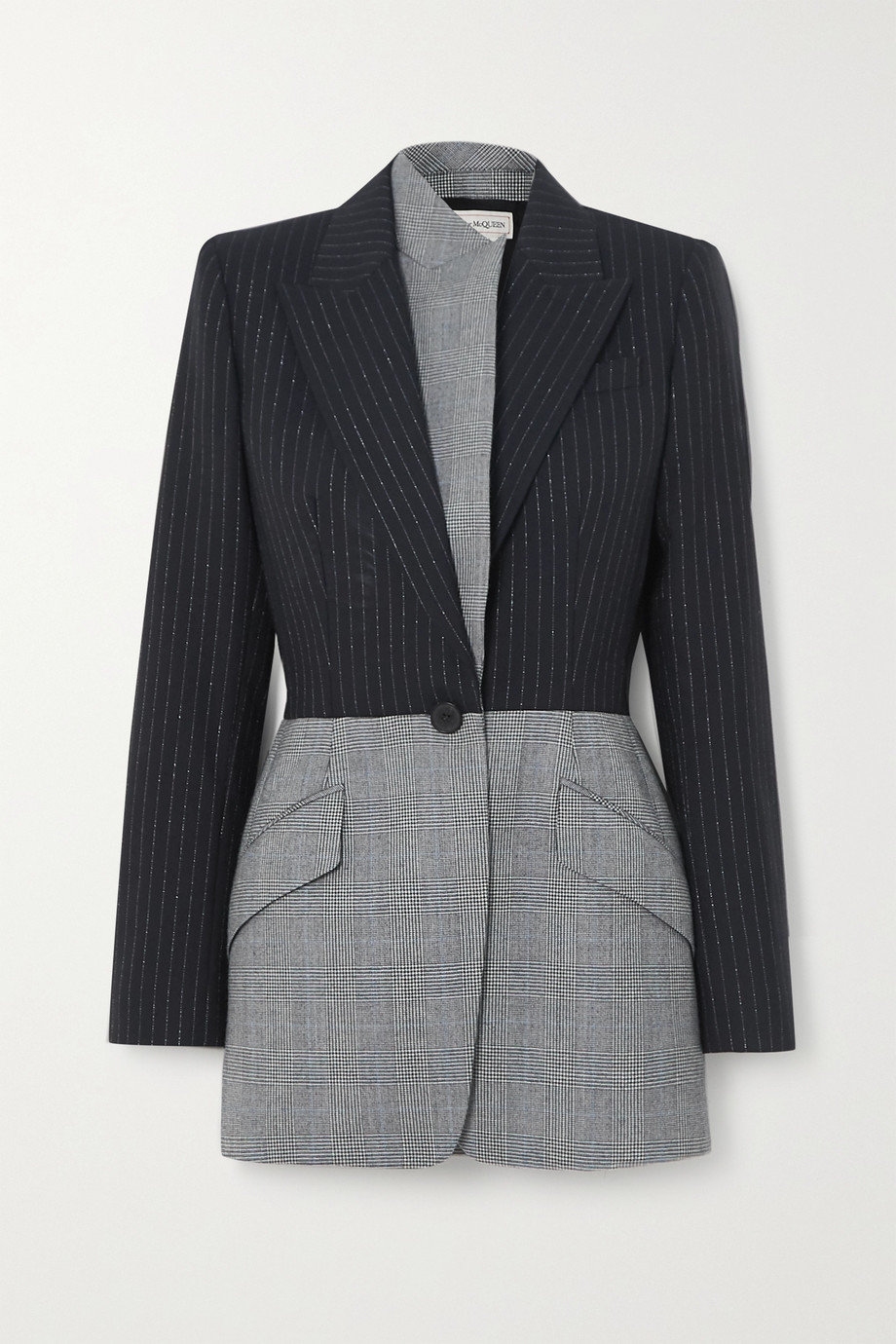 ALEXANDER MCQUEEN Asymmetric pinstriped and Prince of Wales checked wool blazer