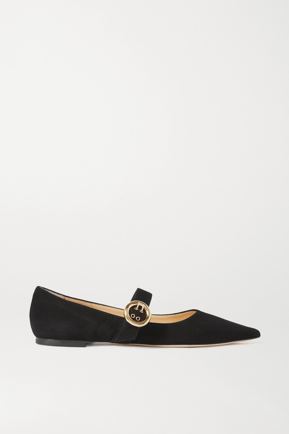 JIMMY CHOO Gela buckled suede point-toe flats