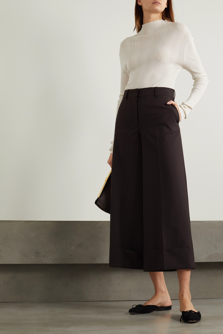 CASASOLA Siena stretch-knit wide-leg pants