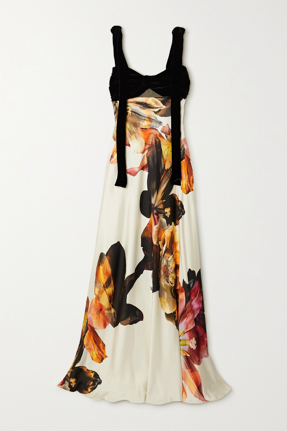 COSTARELLOS Dahlia tie-detailed cutout velvet and floral-print satin gown