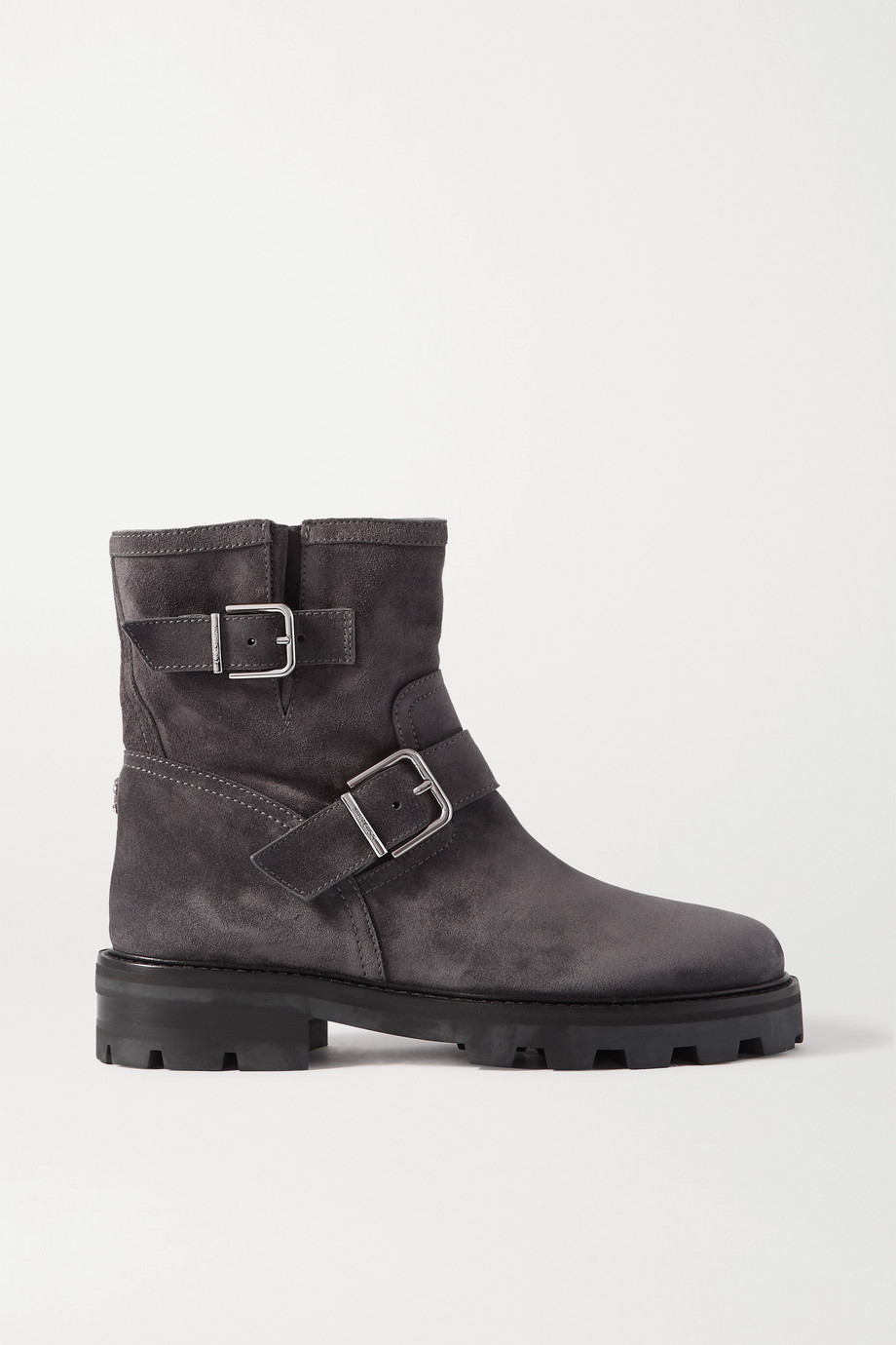 Jimmy Choo Youth II buckled suede biker boots
