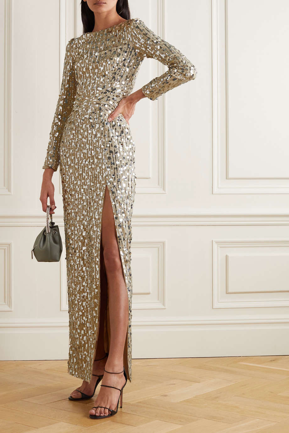 RASARIO Open-back sequined tulle gown