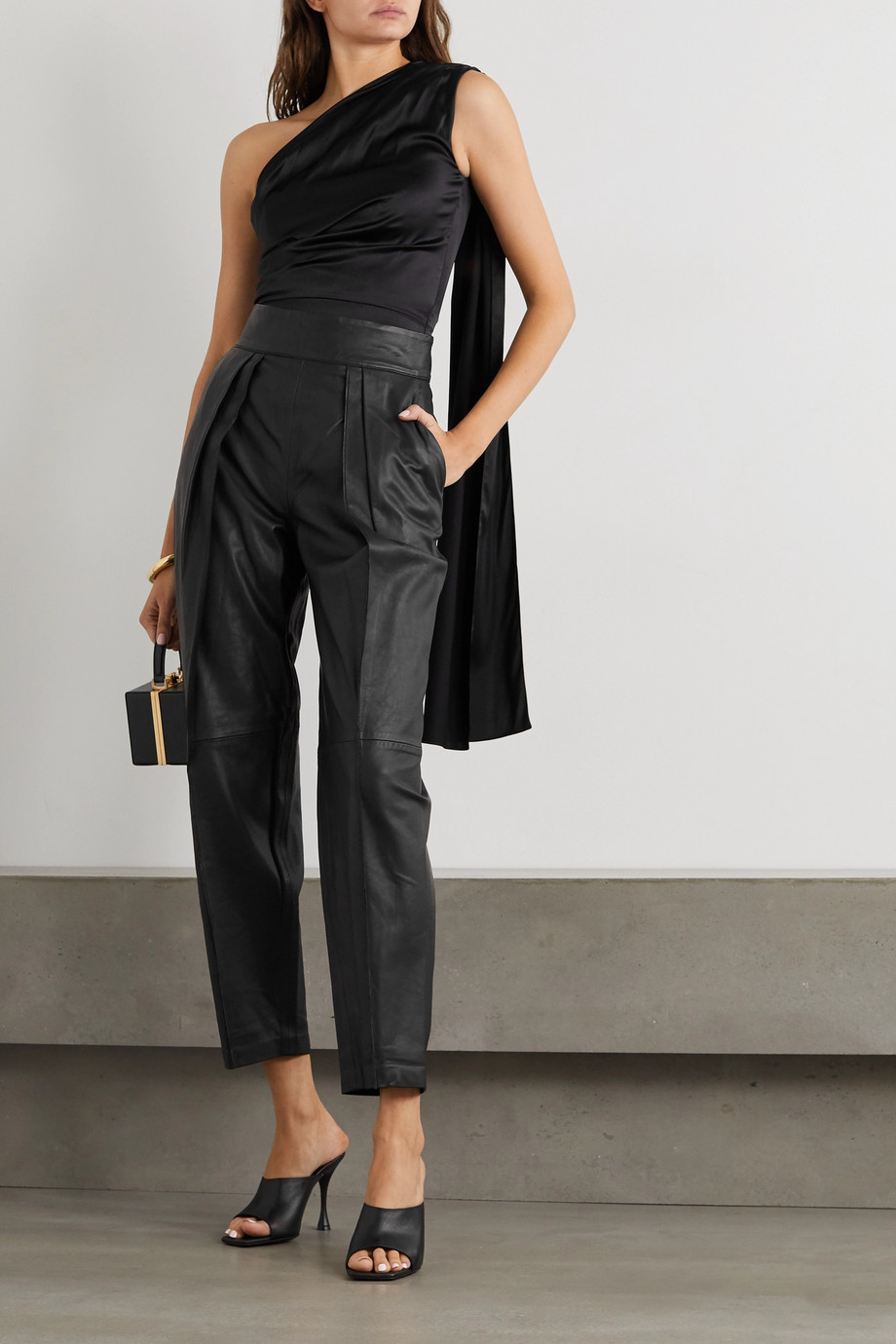 MATICEVSKI Social pleated leather straight-leg pants