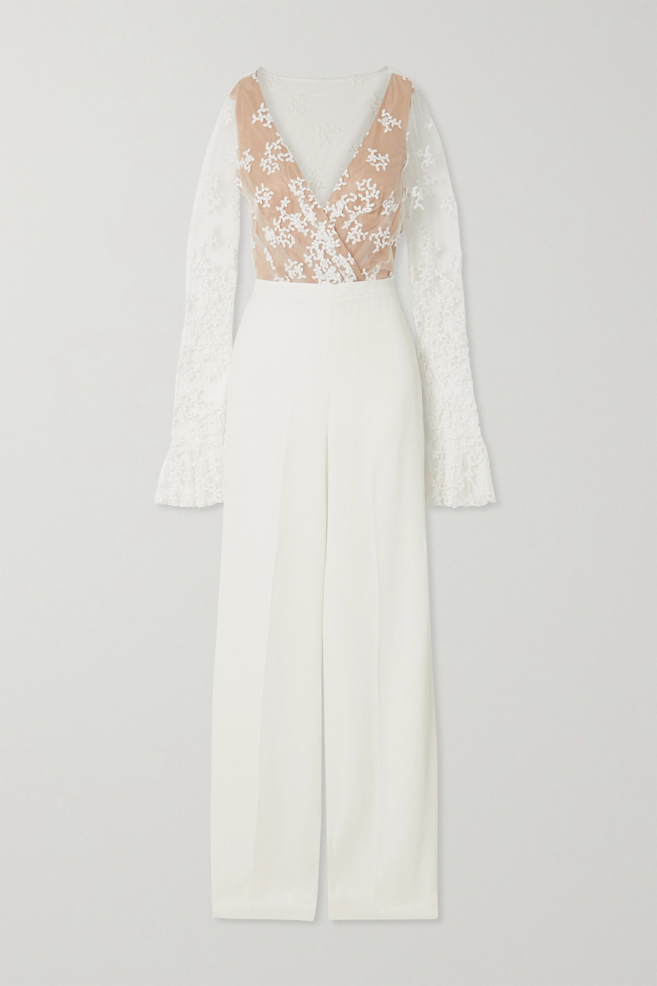 RIME ARODAKY Poppy embroidered tulle and crepe jumpsuit