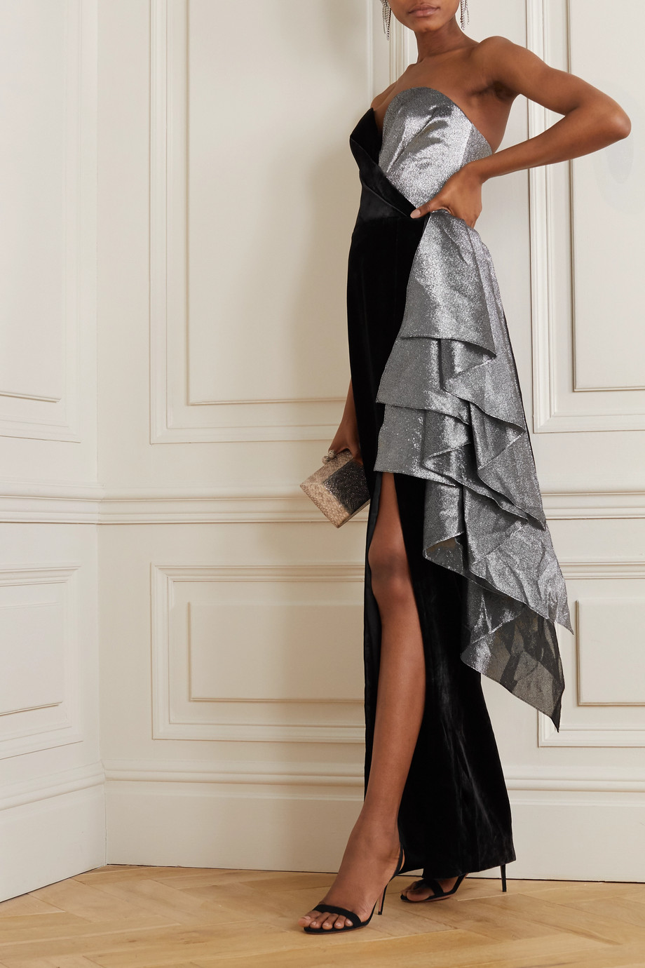 RASARIO Strapless ruffled lamé and velvet gown