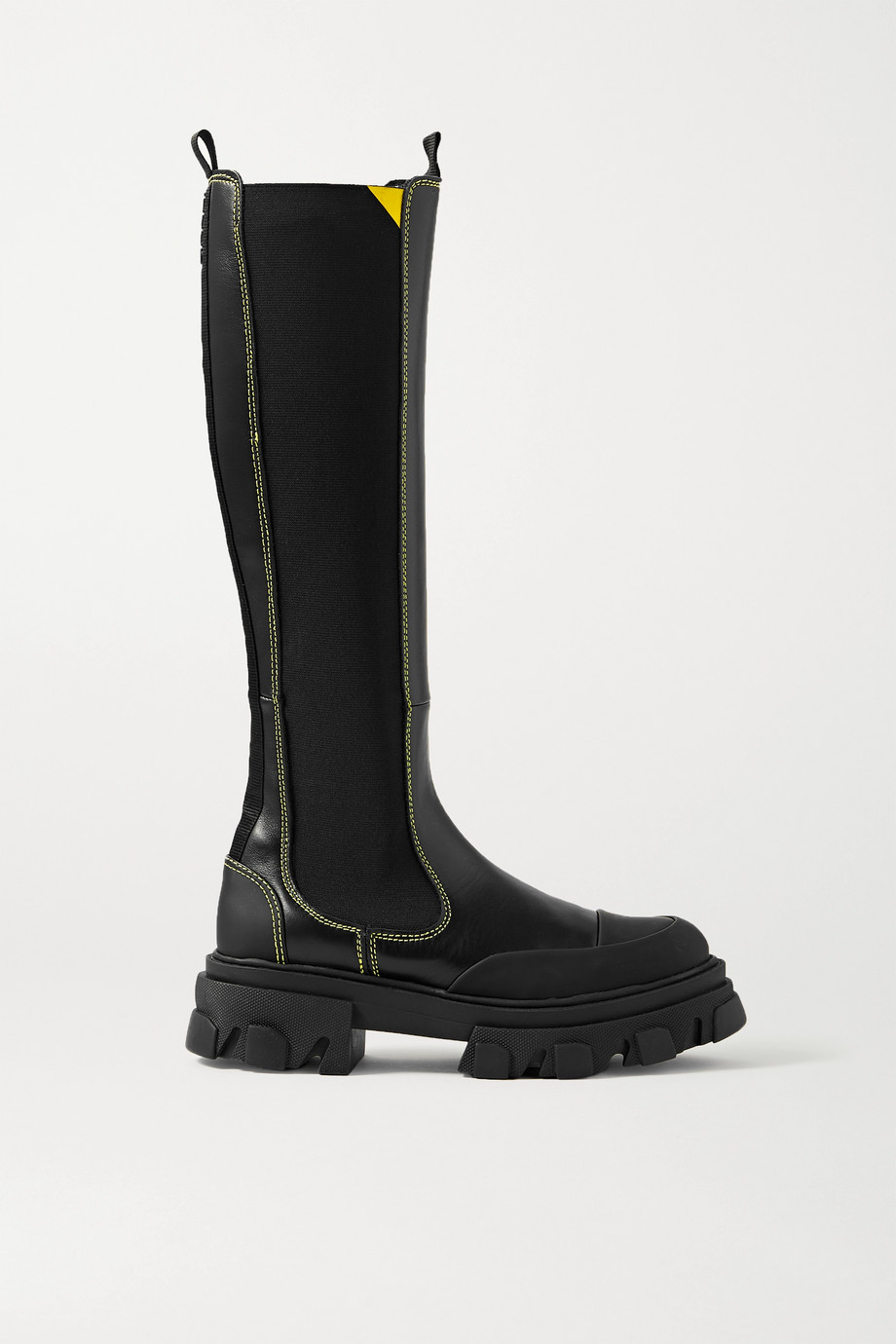 GANNI Rubber-trimmed leather Chelsea knee boots