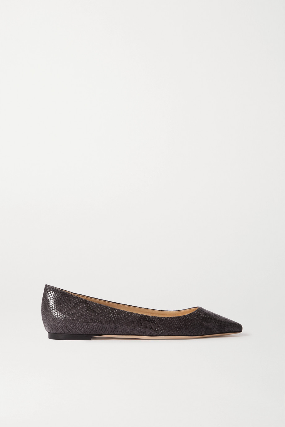 Jimmy Choo Romy snake-effect leather point-toe flats