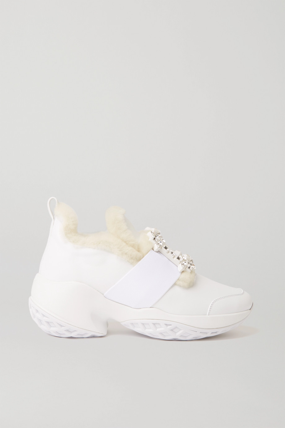 ROGER VIVIER Viv' Run crystal-embellished shearling-trimmed leather sneakers