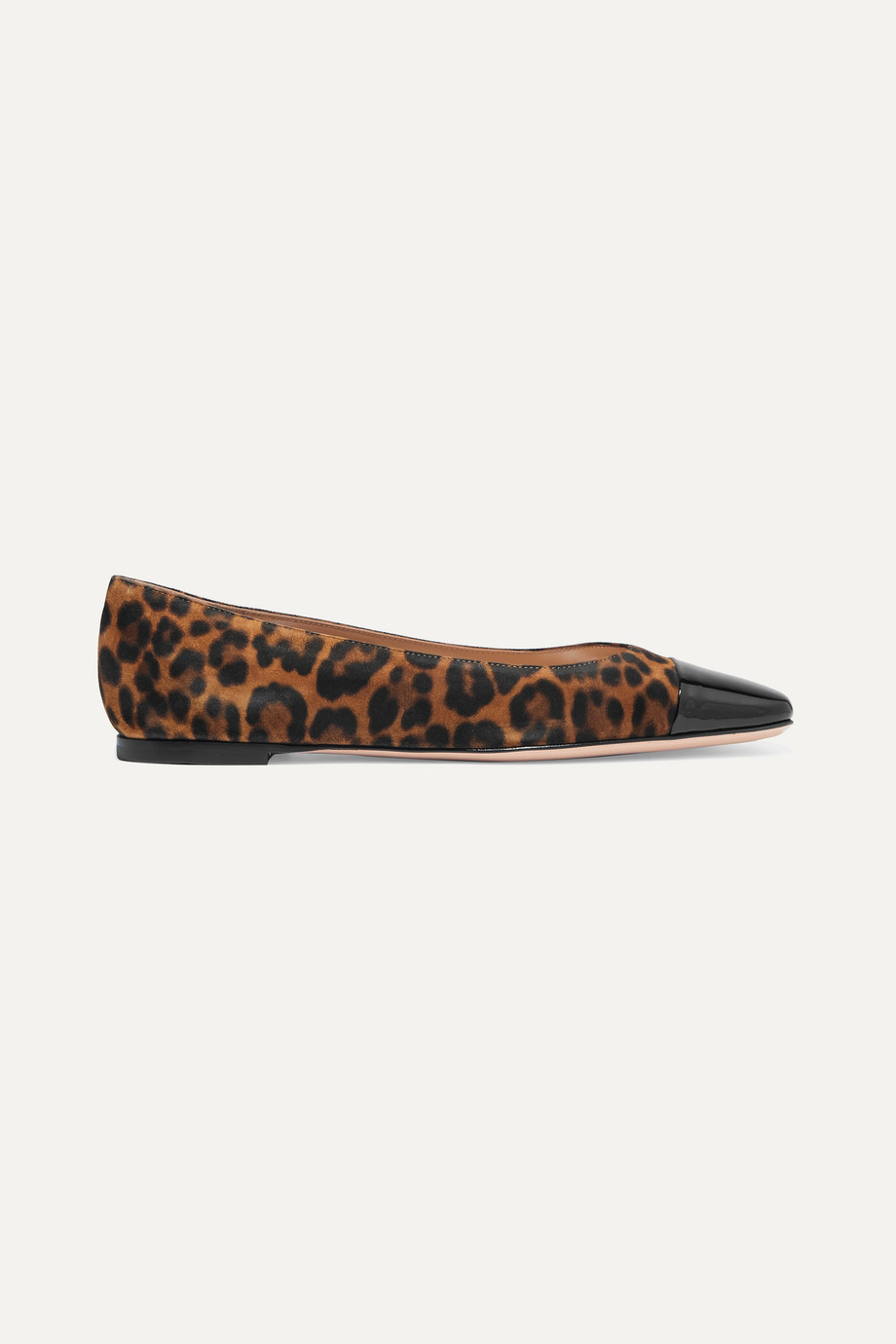 GIANVITO ROSSI Leopard-print suede and patent-leather ballet flats