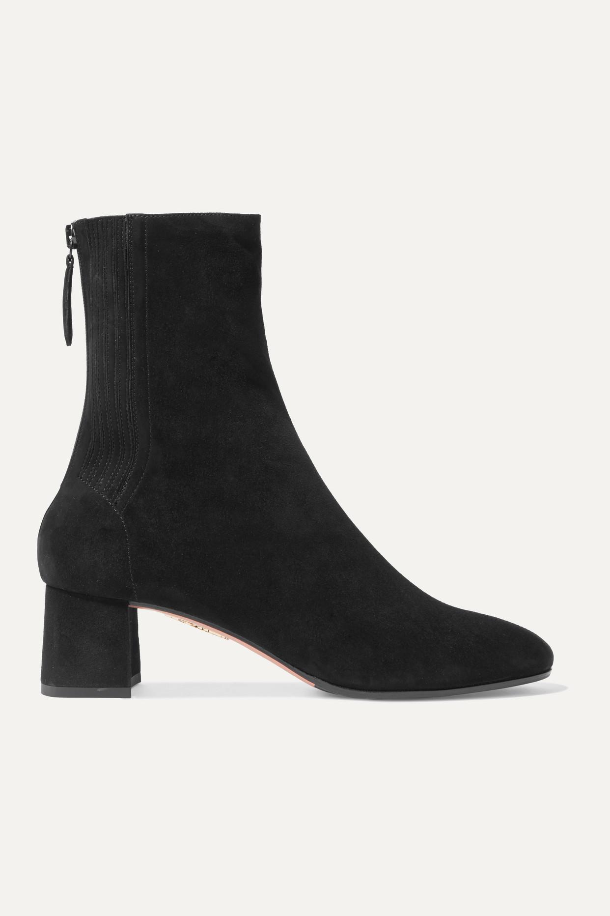 AQUAZZURA - Saint Honoré 50 绒面革袜靴 - 黑色 - IT39.5