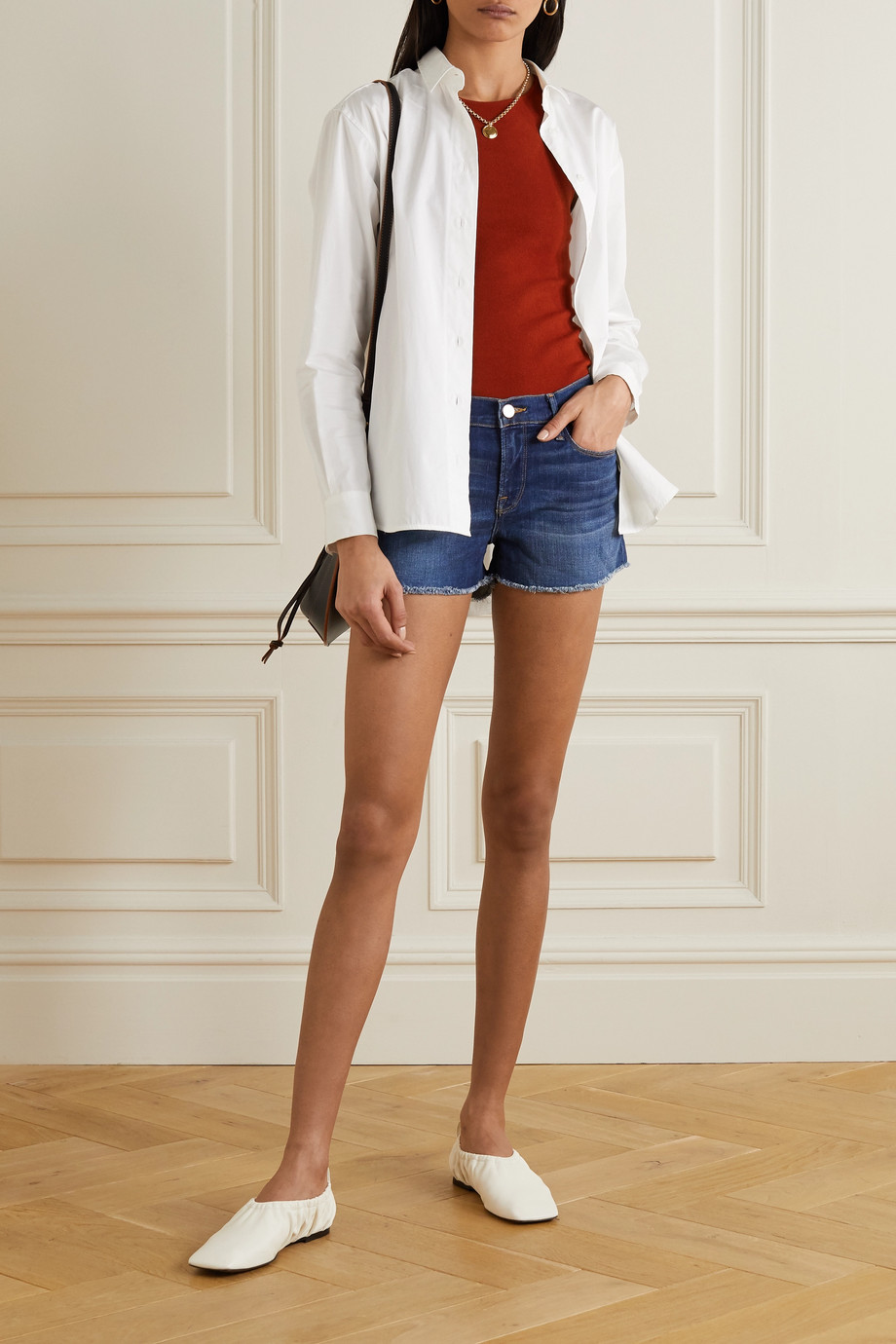 FRAME Le Cutoff frayed denim shorts