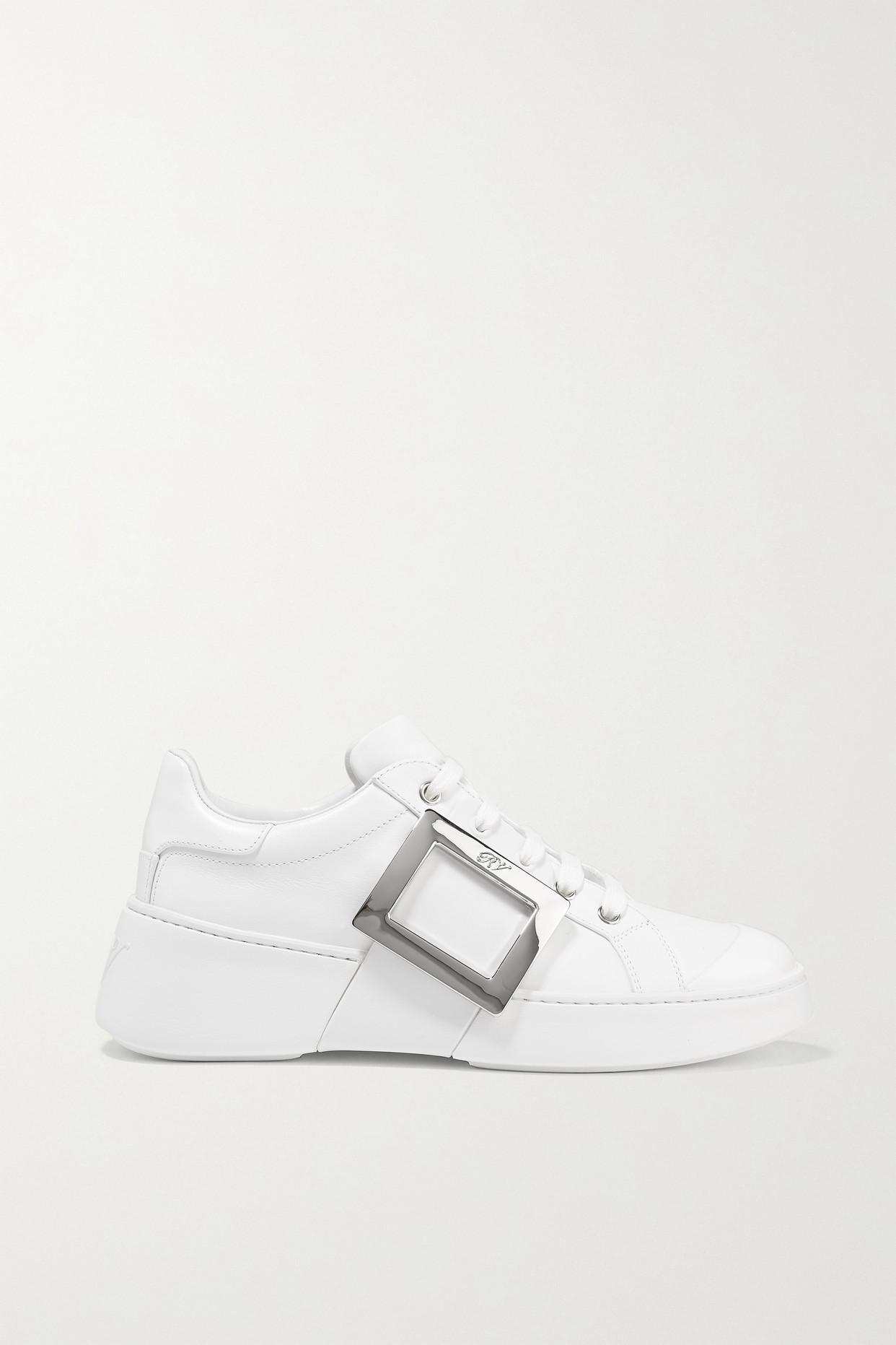 ROGER VIVIER - Skate Embellished Rubber-trimmed Leather Sneakers - White - IT38.5